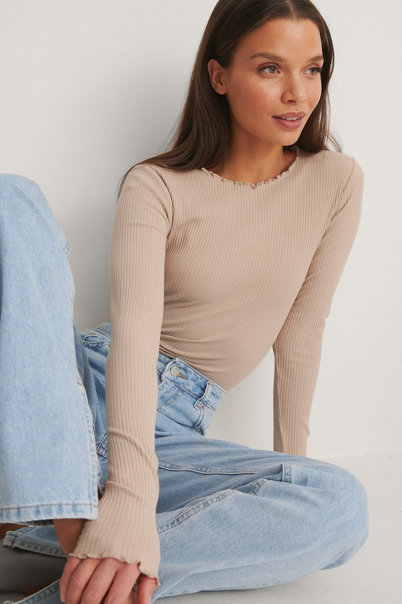 Beige Organic Babylock Ribbed Long Sleeve Top