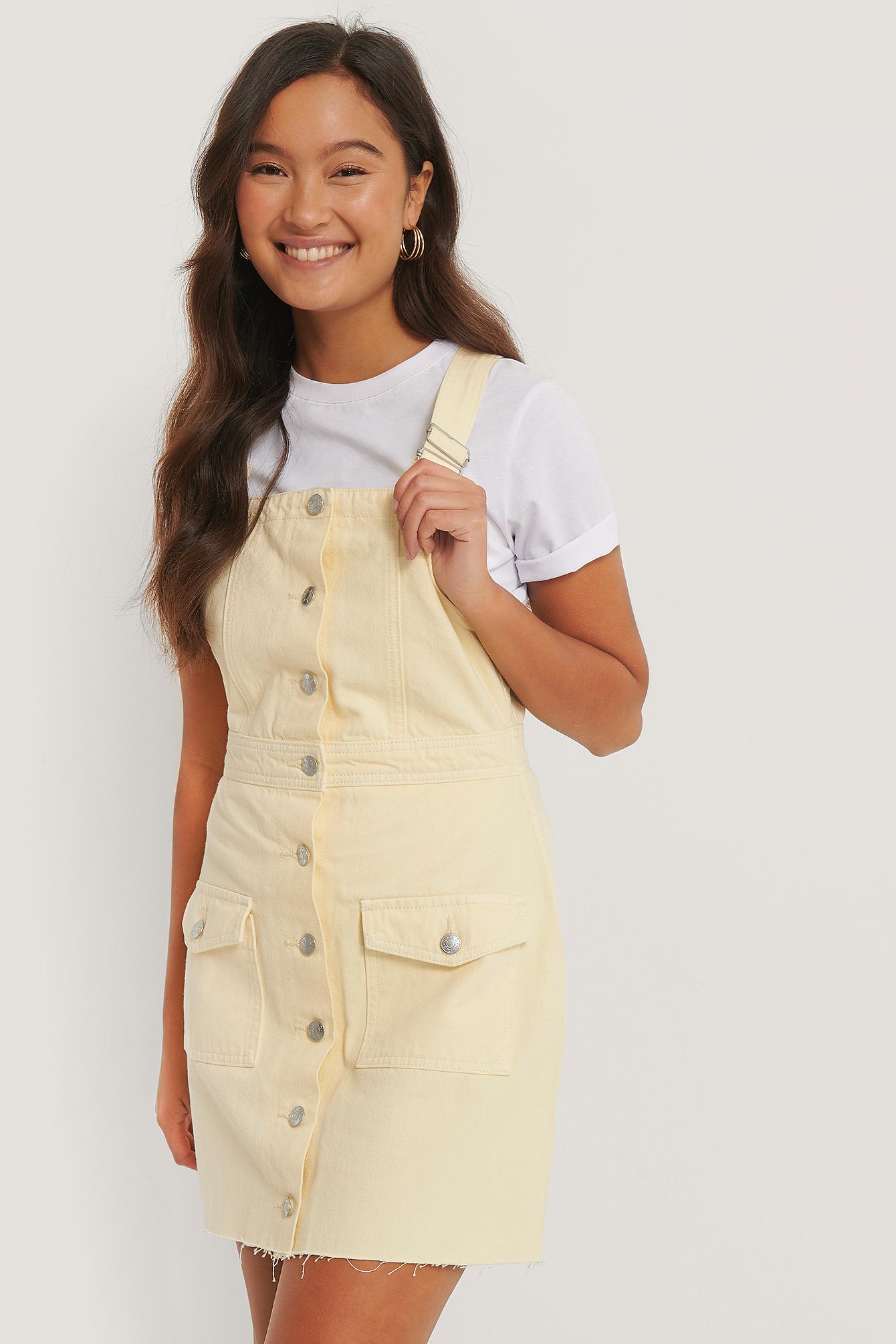 NA-KD Reborn Farbiges Jeanskleid Aus Bio-Baumwolle - Yellow   Bekleidung > Kleider > Jeanskleider   NA-KD Reborn