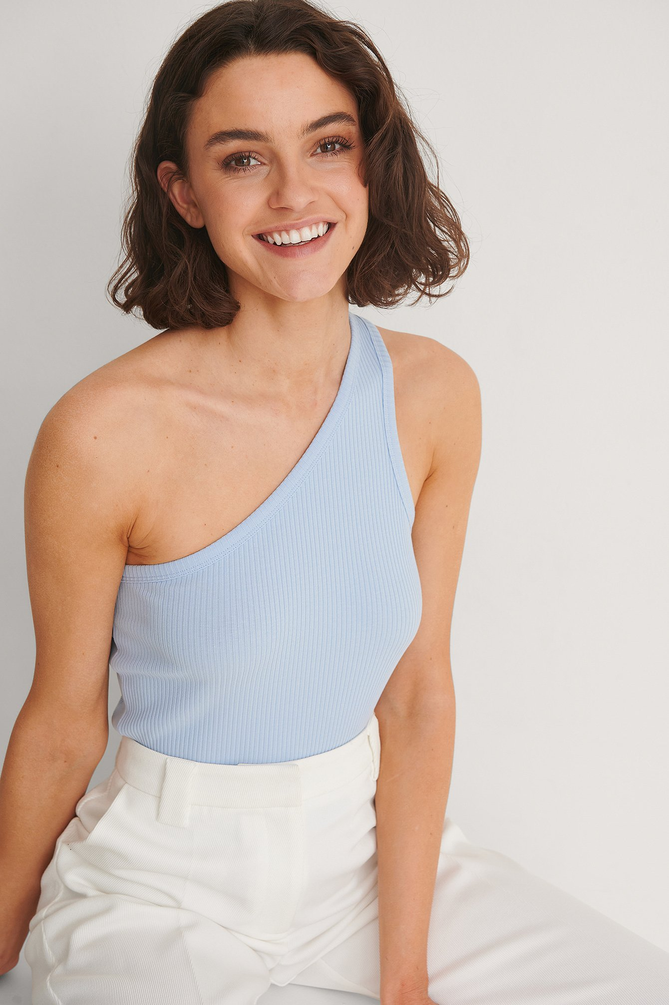 Dusty Blue Organic One Shoulder Ribbed Top