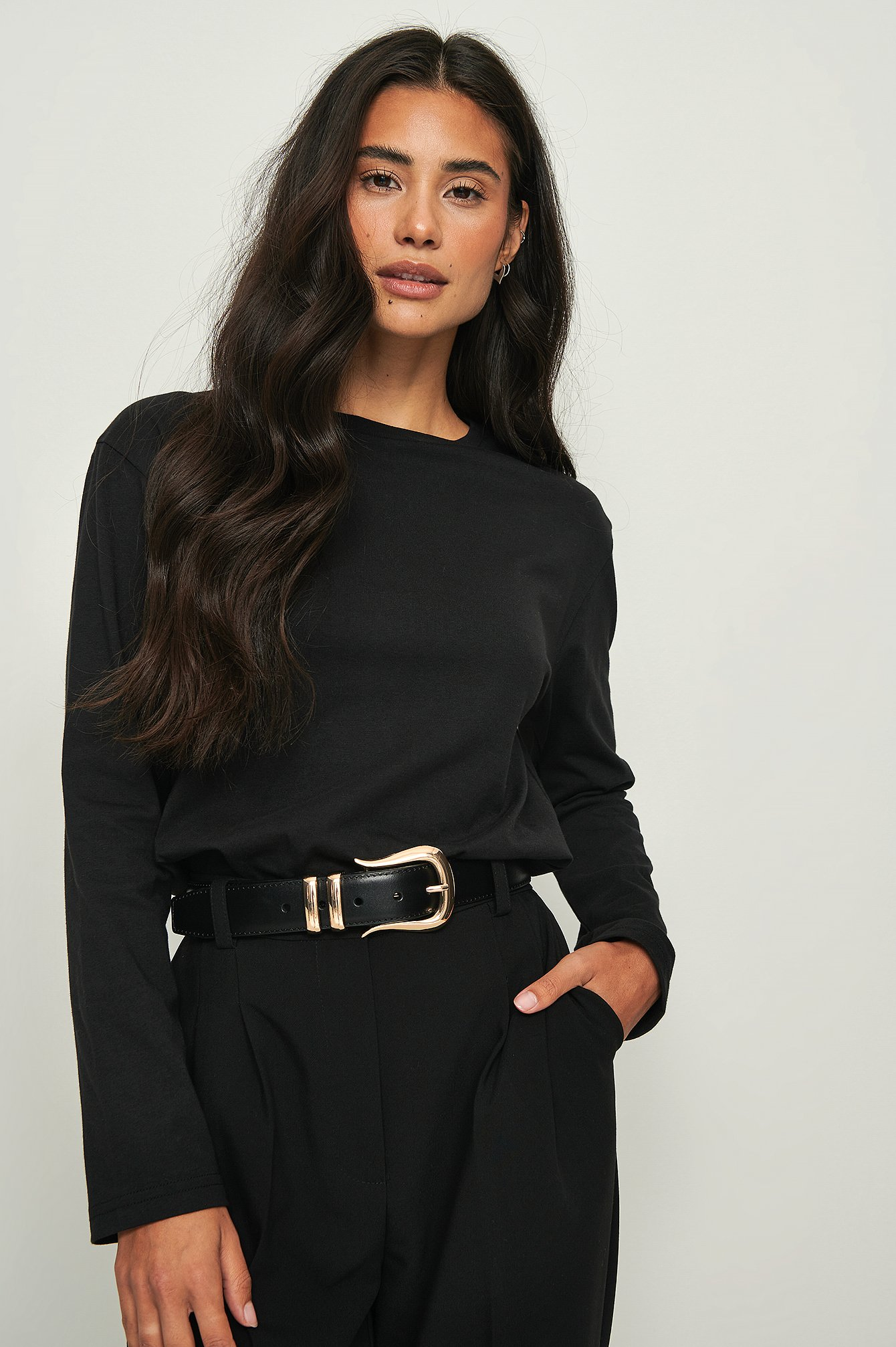 na-kd basic -  Oversized Longsleeve-Shirt Aus Ökologischem Material - Black