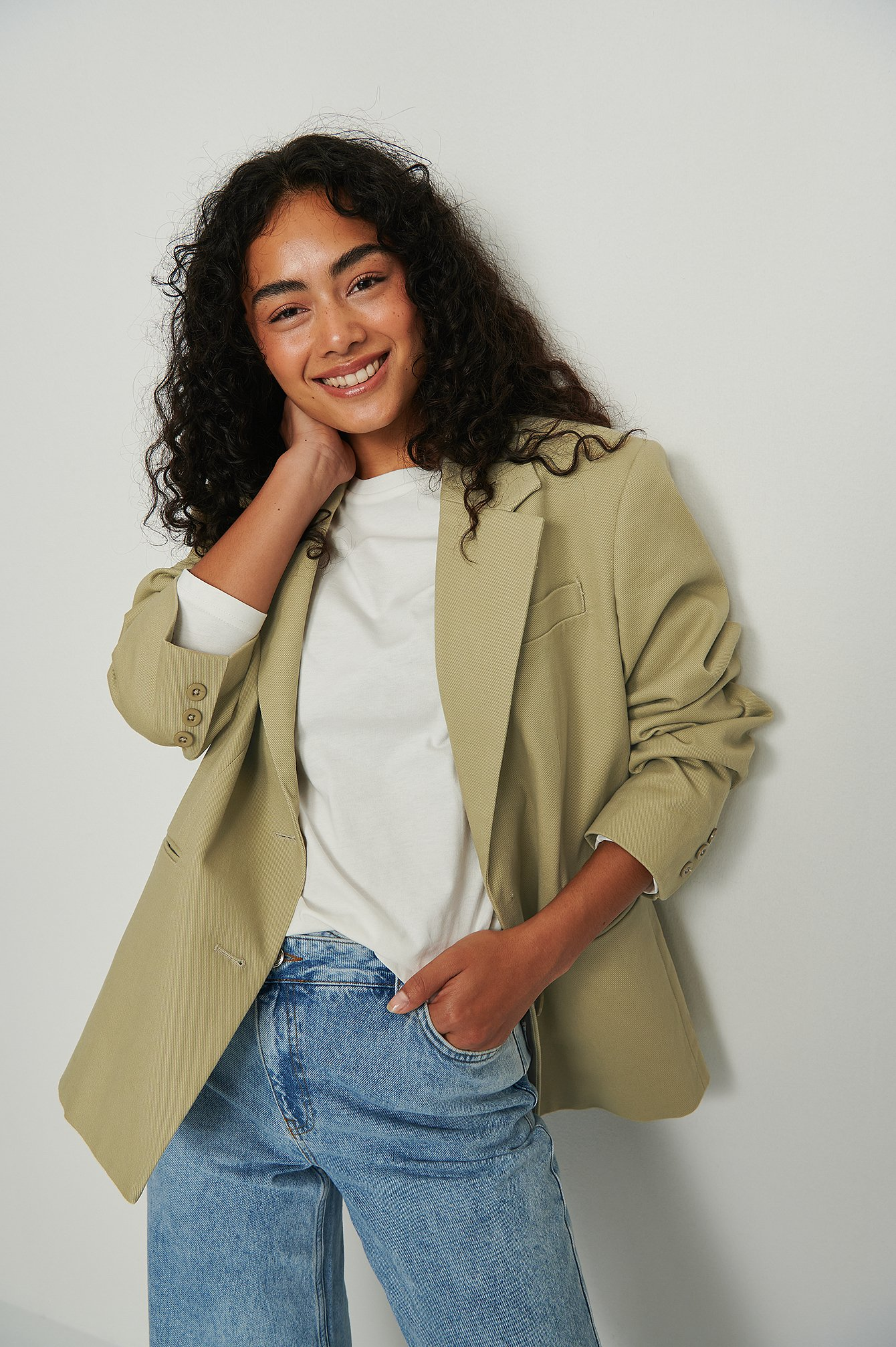 na-kd basic -  Oversized Longsleeve-Shirt Aus Ökologischem Material - Offwhite