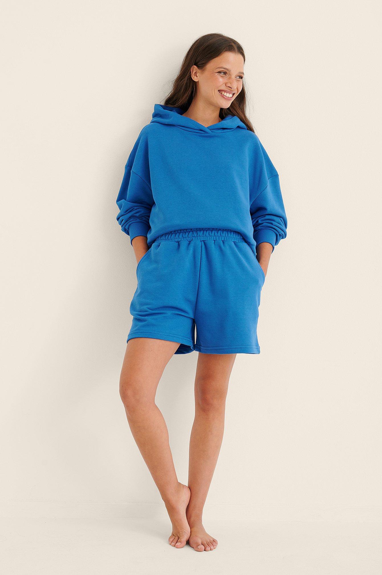 NA-KD Trend Økologisk Hættetrøje I Overstørrelse Med Lomme - Blue