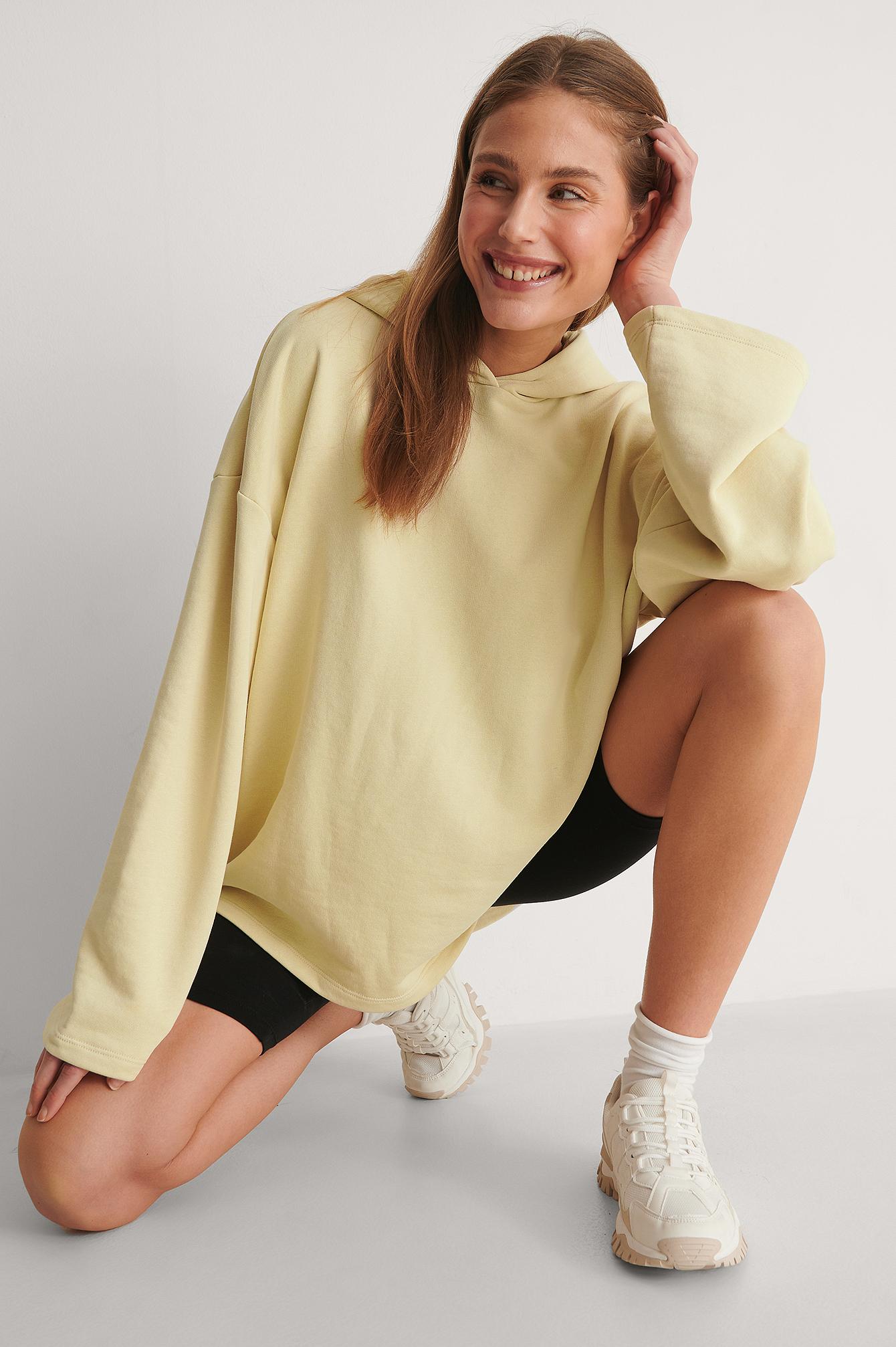 NA-KD Trend Økologisk Økologisk Oversize HættetrøjeØkologisk Økologisk Oversize Hættetrøje - Yellow