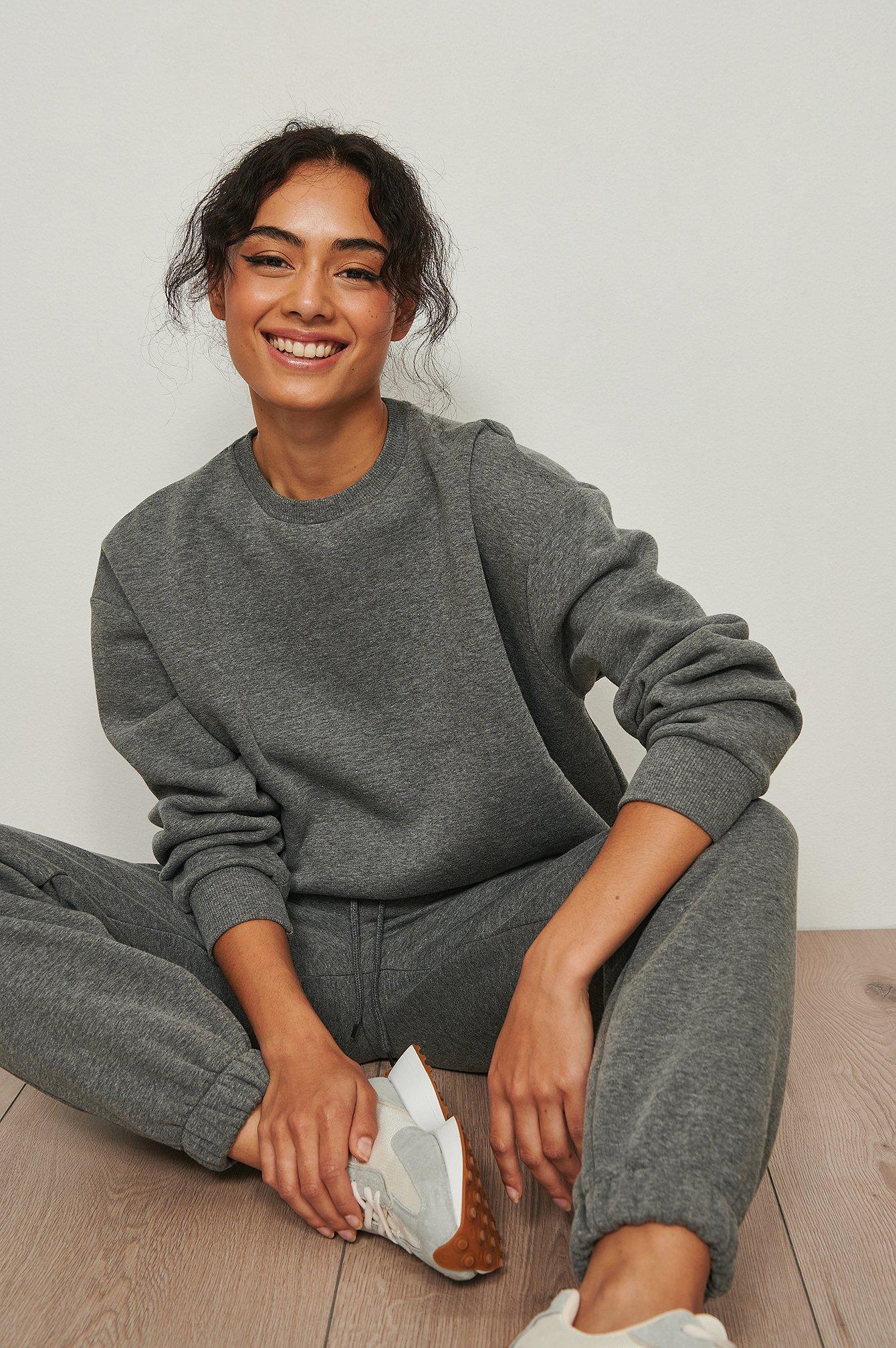 NA-KD Basic Økologisk oversize sweatshirt - Grey