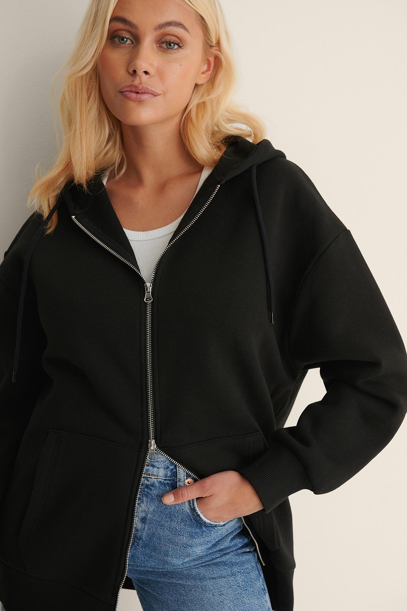 na-kd trend -  Bio-Oversize-Kapuzenpullover Mit Reißverschluss - Black