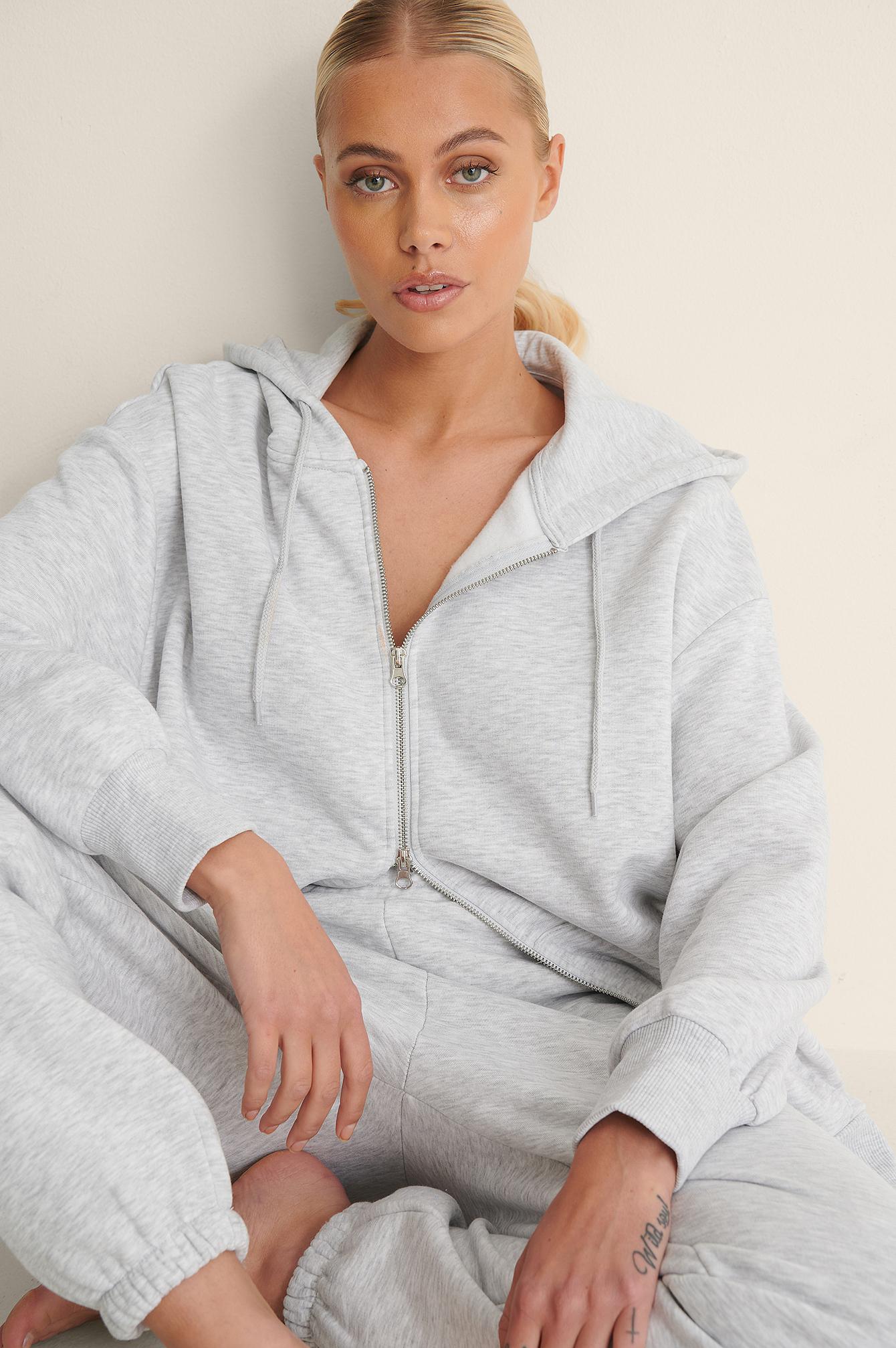 na-kd trend -  Bio-Oversize-Kapuzenpullover Mit Reißverschluss - Grey