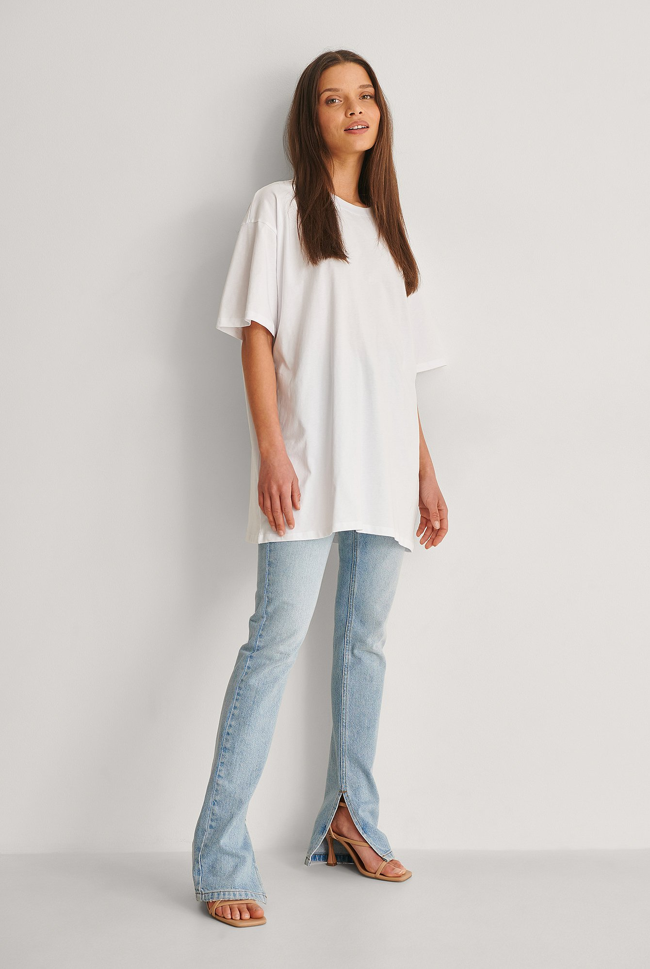 White Organic Round Neck Oversized Tee