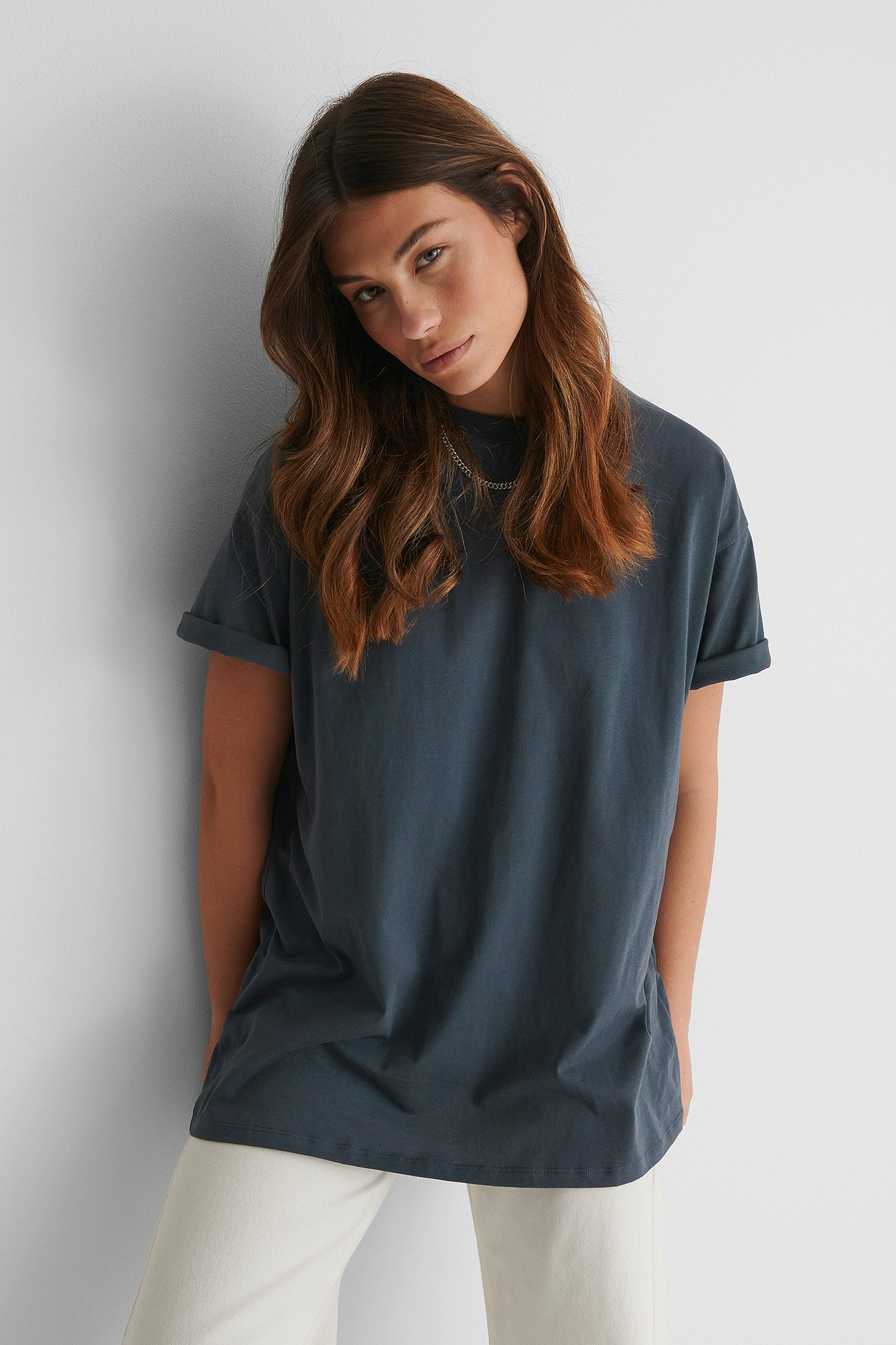 Off Black Organic Round Neck Oversized Tee