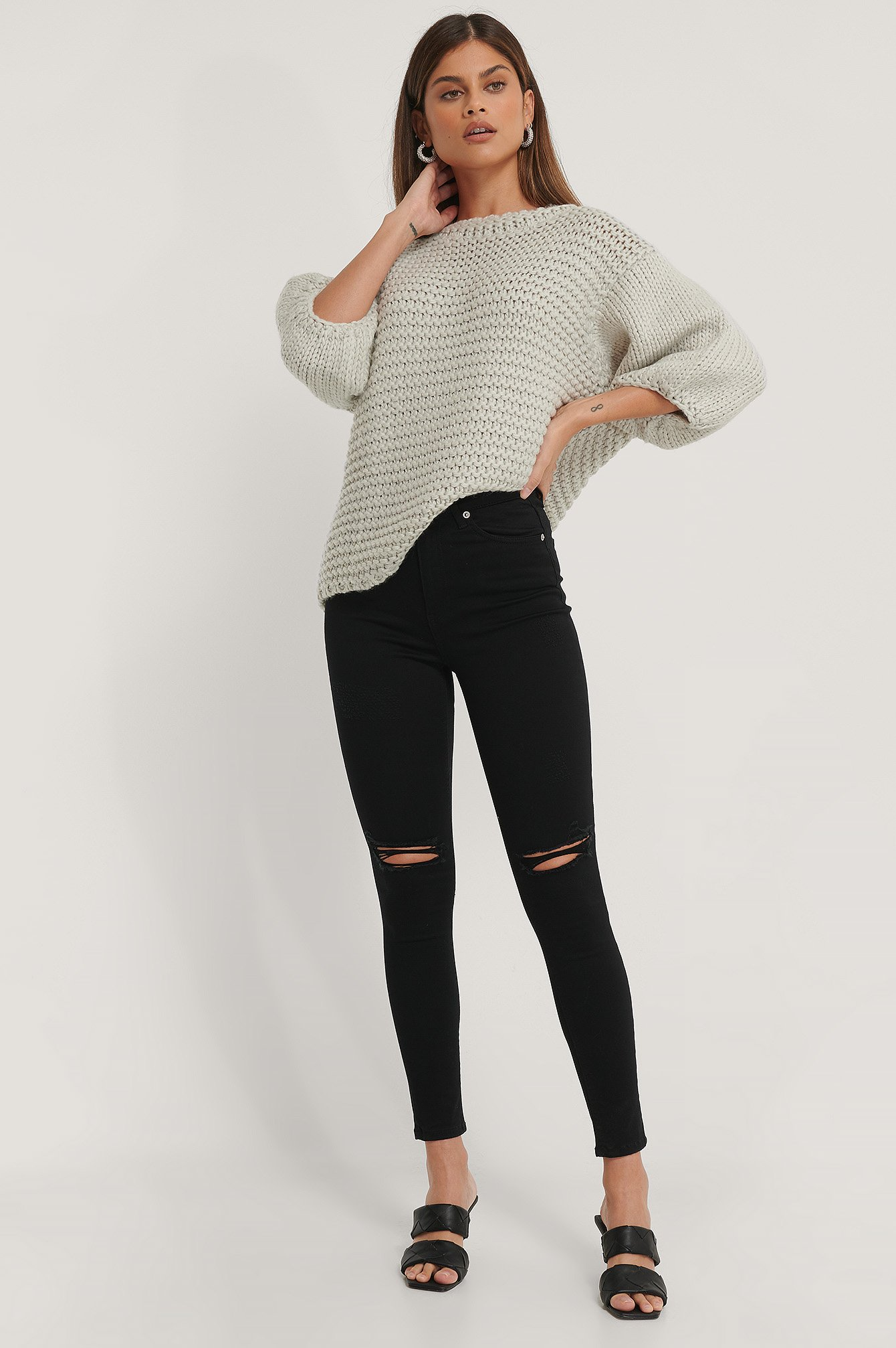 Black Organisch Skinny Jeans Mit Hoher Taille Used-Look