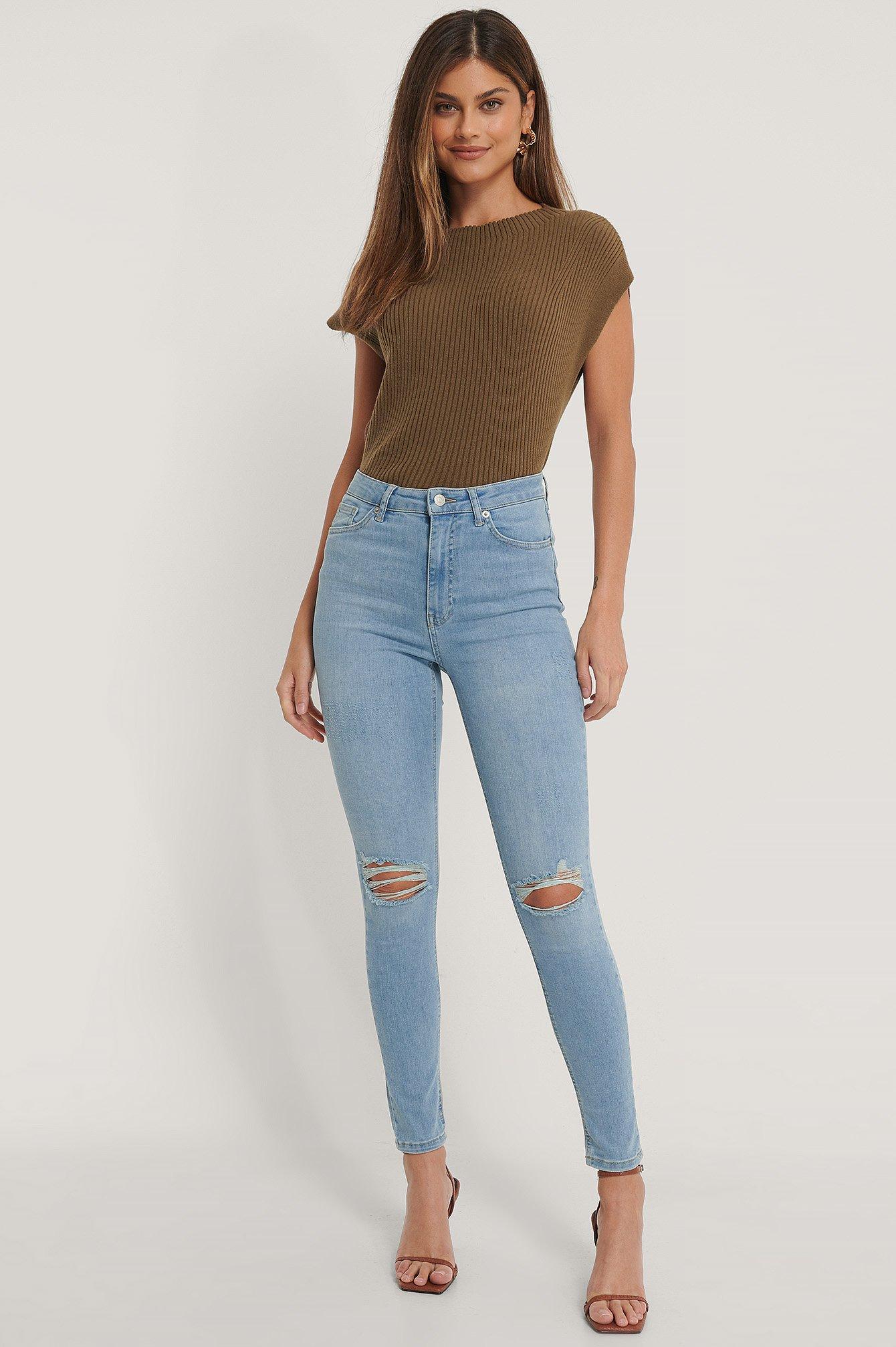 NA-KD Reborn Økologiske Højtaljede Skinny Jeans Med Huller - Blue