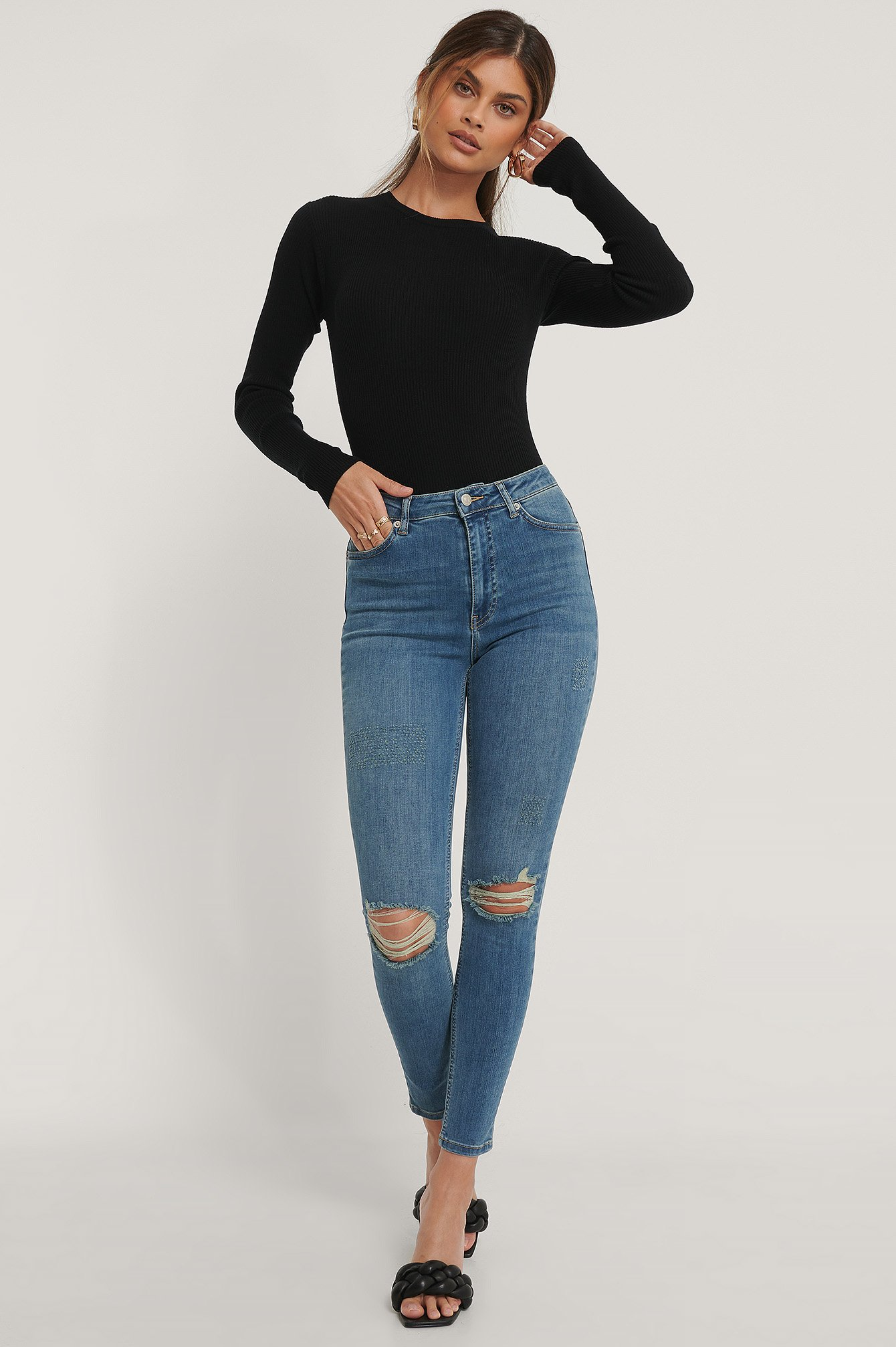 Mid Blue Skinny High Waist Destroyed Jeans