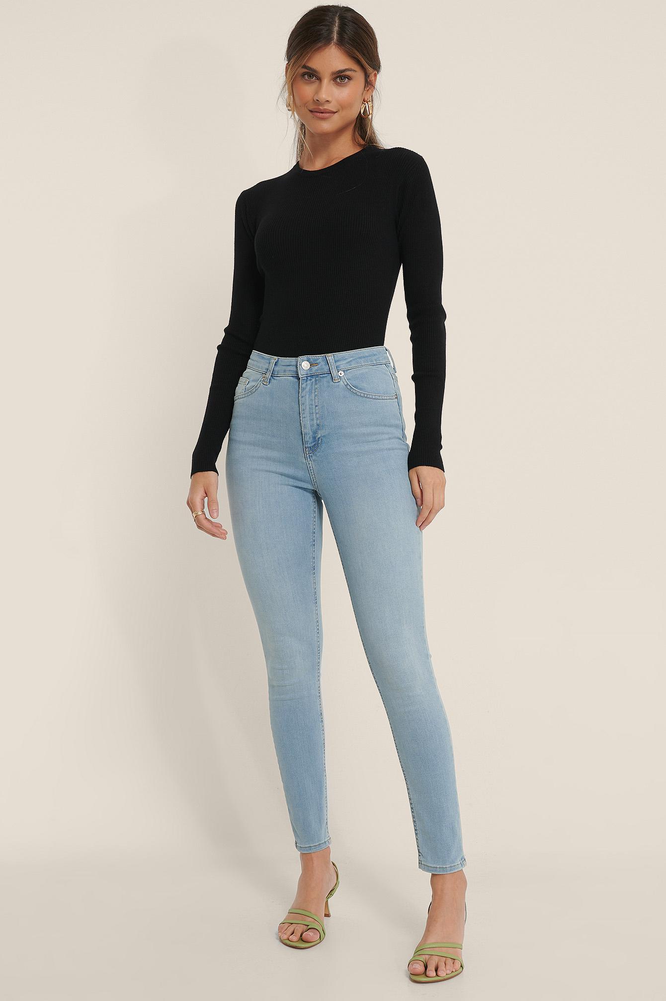 NA-KD Økologiske Skinny Jeans Med Høyt Liv - Blue