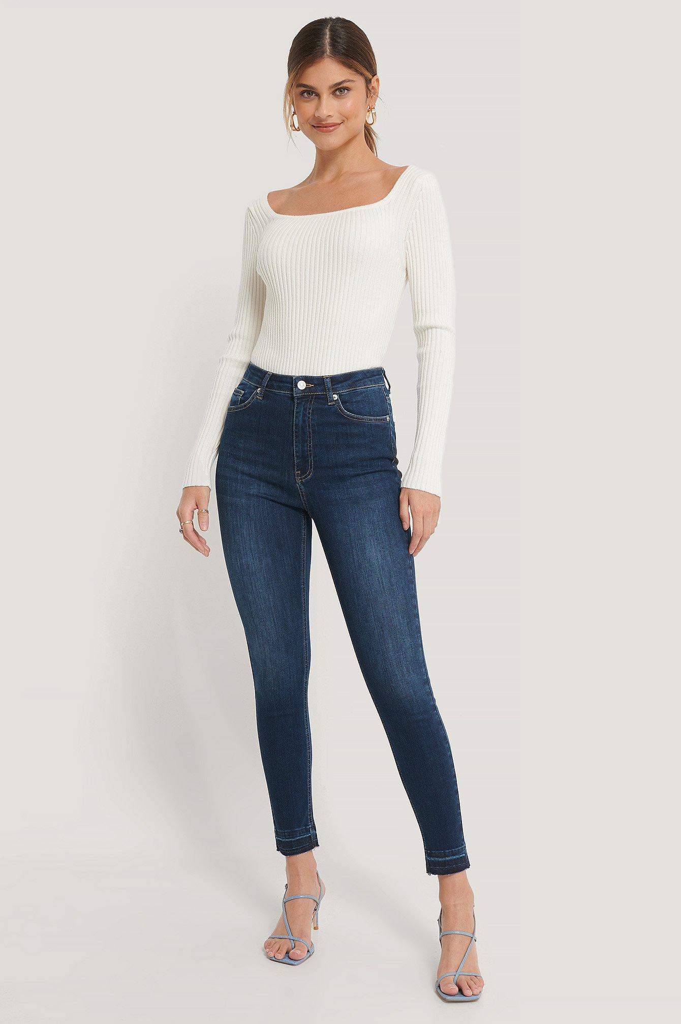 NA-KD Reborn Økologiske Skinny Højtaljede Jeans Med Åben Hem - Blue