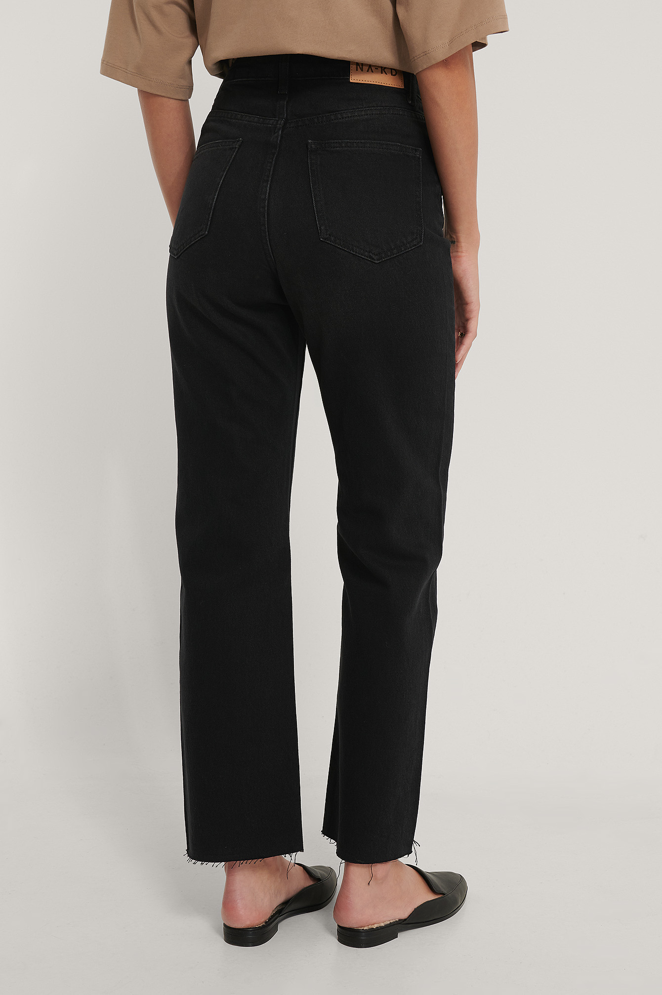 Washed Black Straight High Waist Raw Hem Jeans