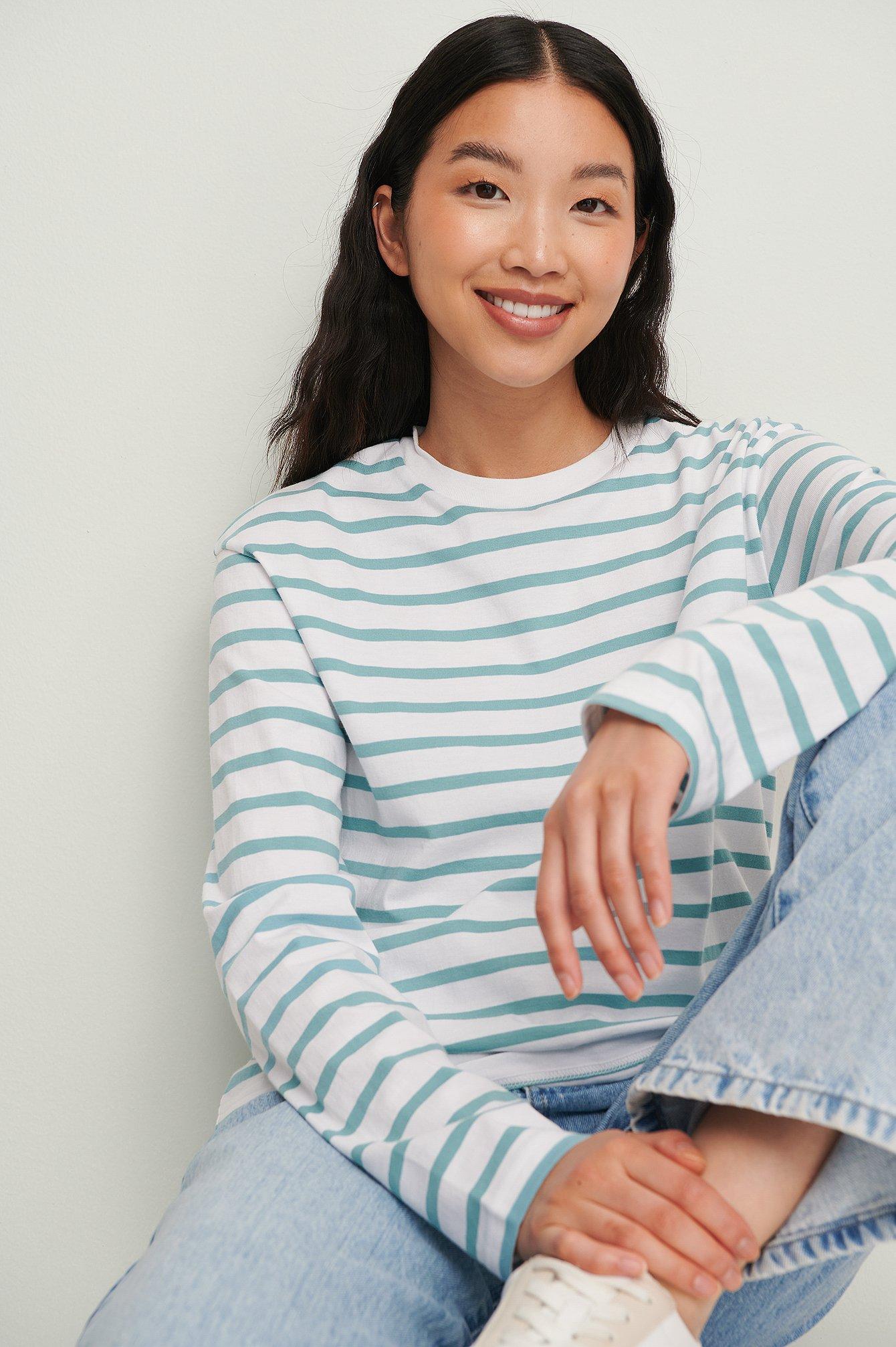 na-kd basic -  Gestreiftes Longsleeve-Shirt In Oversize Aus Ökologischen Material - Blue