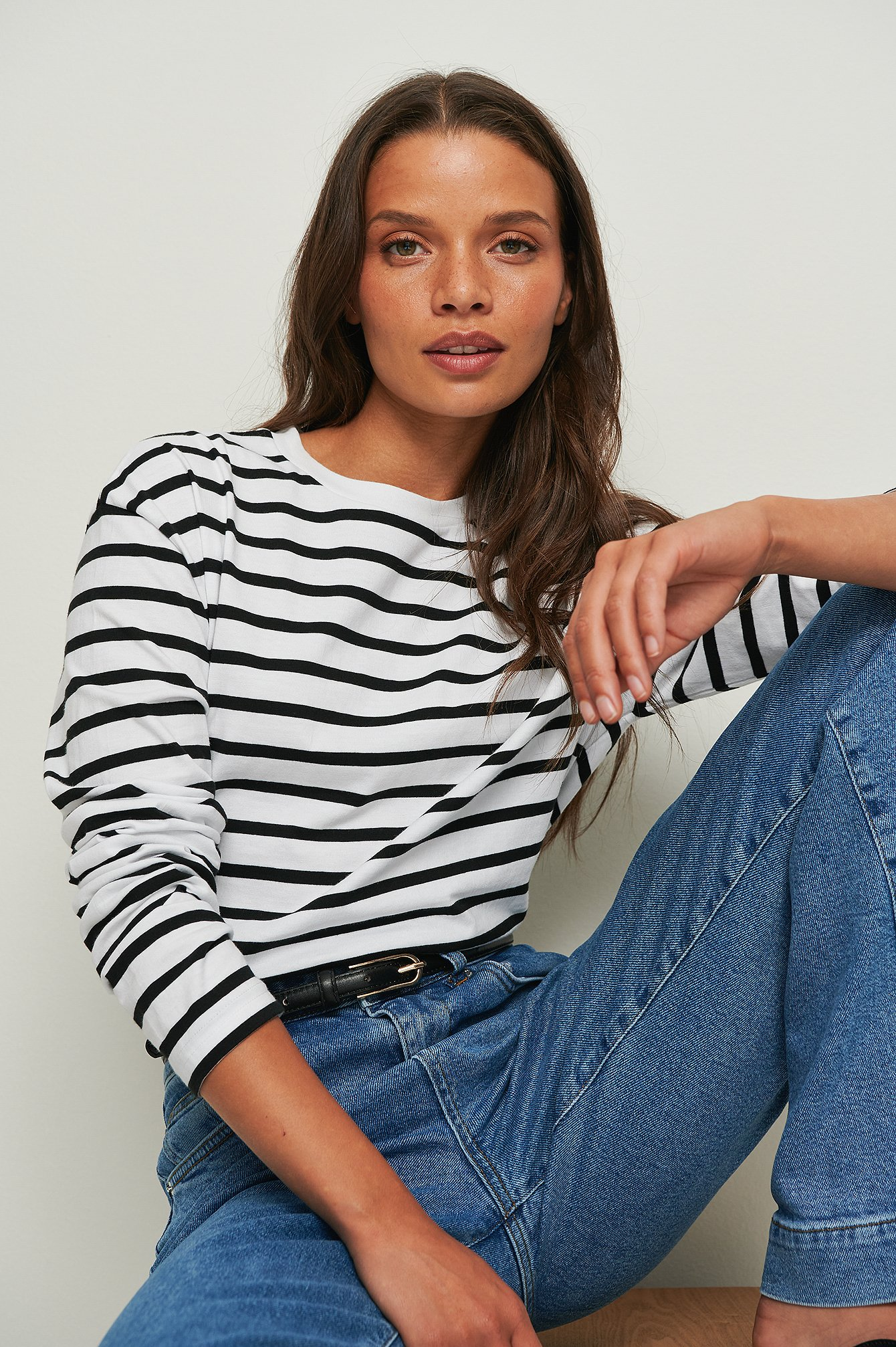 na-kd basic -  Gestreiftes Longsleeve-Shirt In Oversize Aus Ökologischen Material - Black
