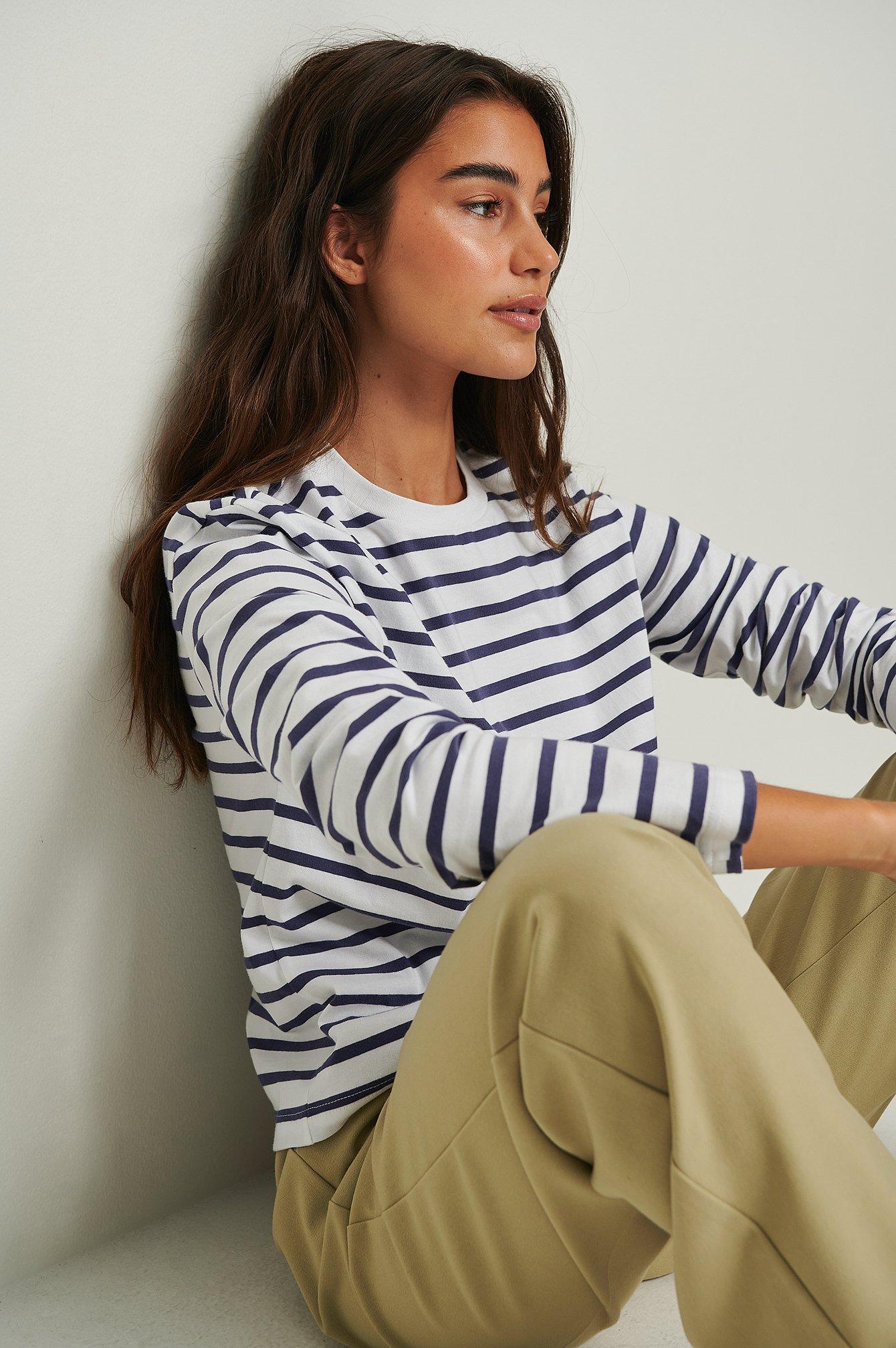 na-kd basic -  Gestreiftes Longsleeve-Shirt In Oversize Aus Ökologischen Material - Navy