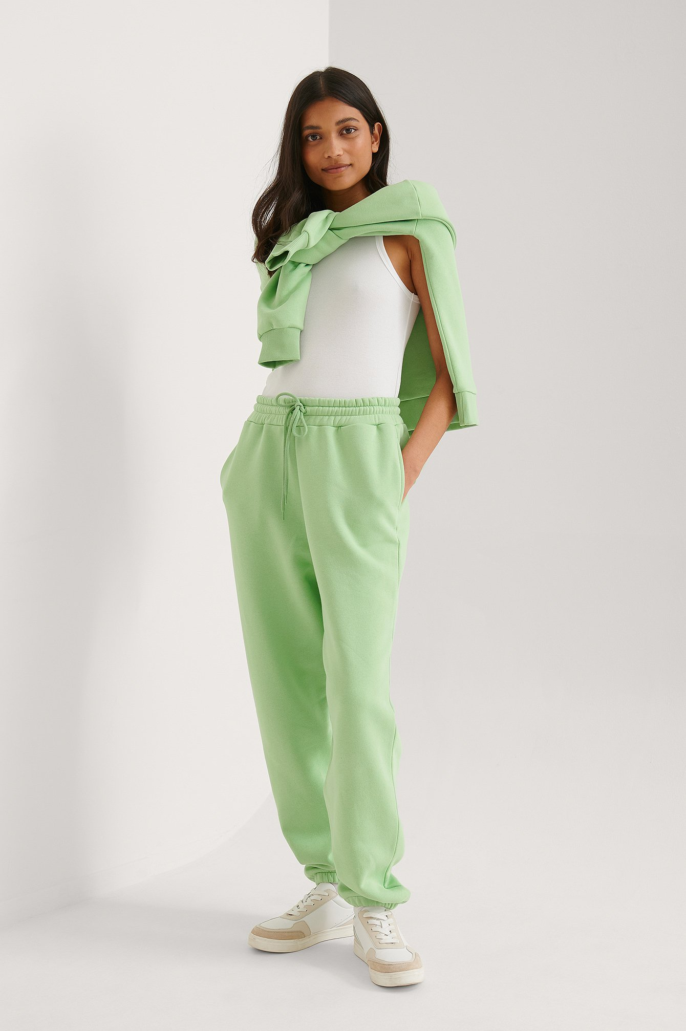 Light Green Organic Tapered Sweatpants