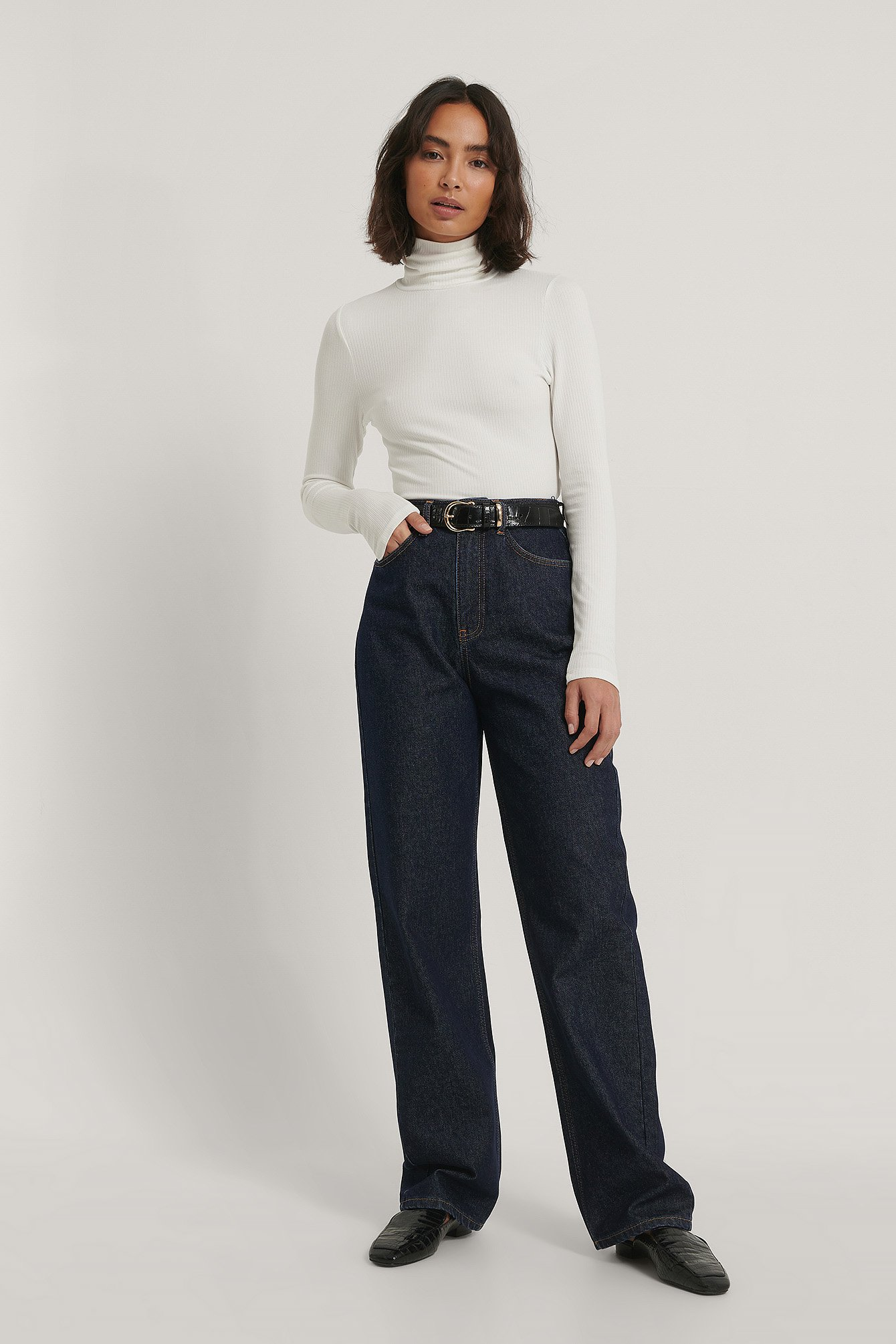 Dark Blue Wide Leg High Waisted Denim