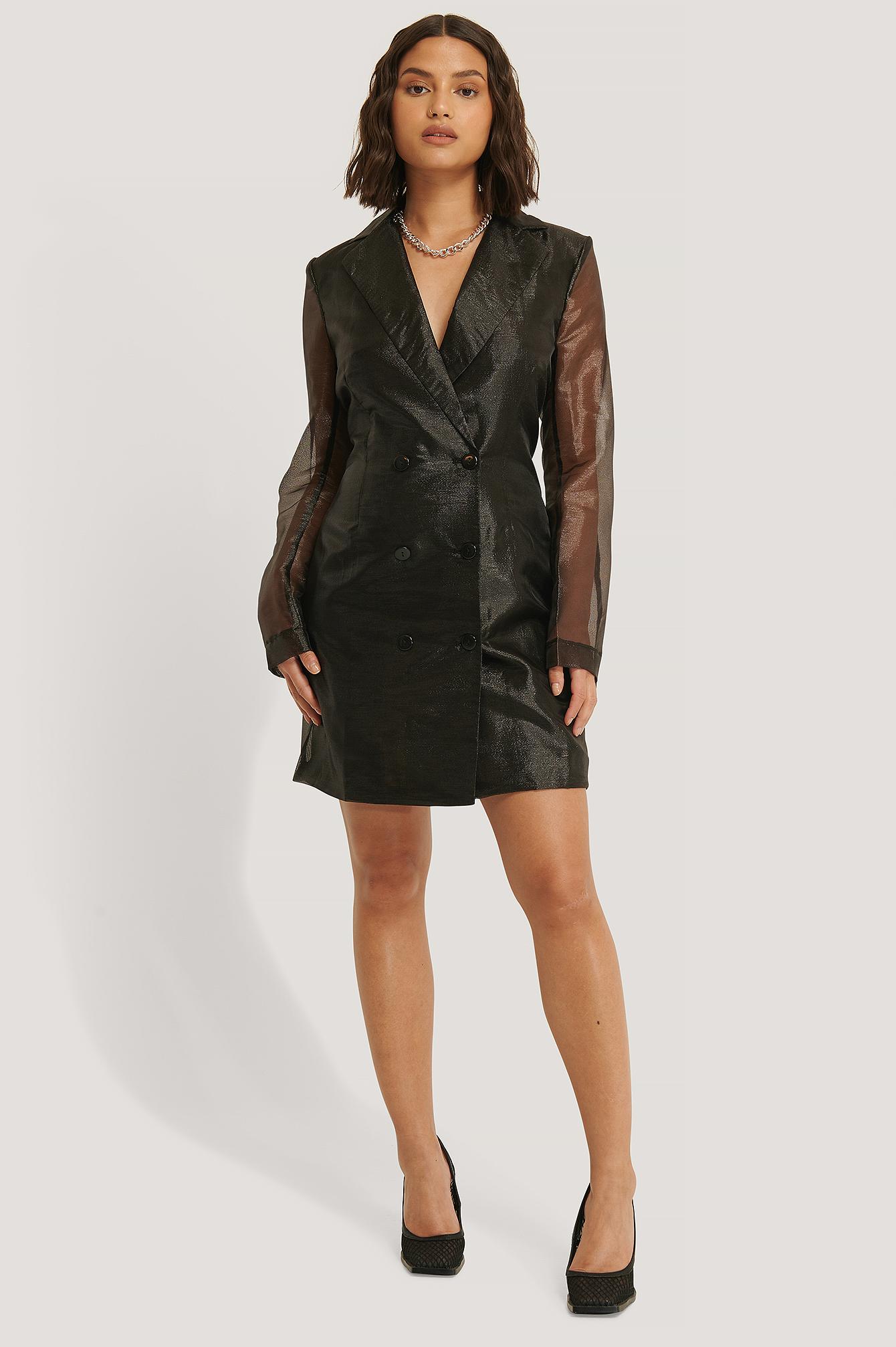na-kd party -  Organza Blazer Dress - Black