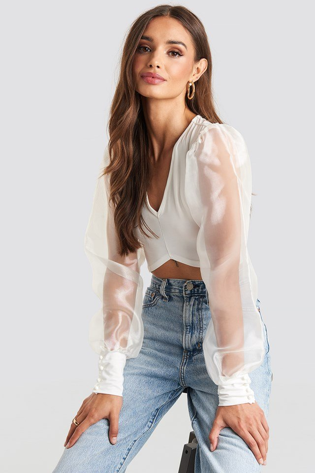 Organza Cropped Blouse White