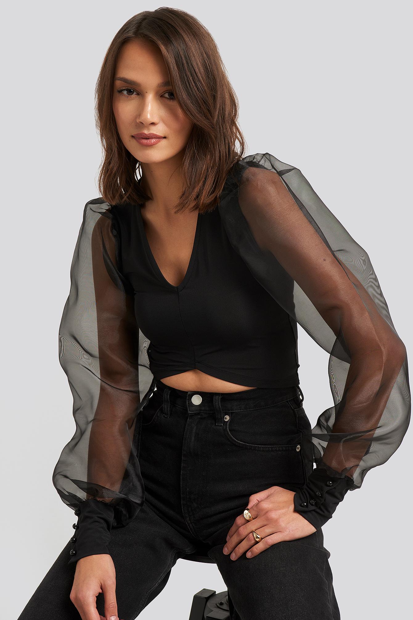na-kd party -  Organza Cropped Blouse - Black