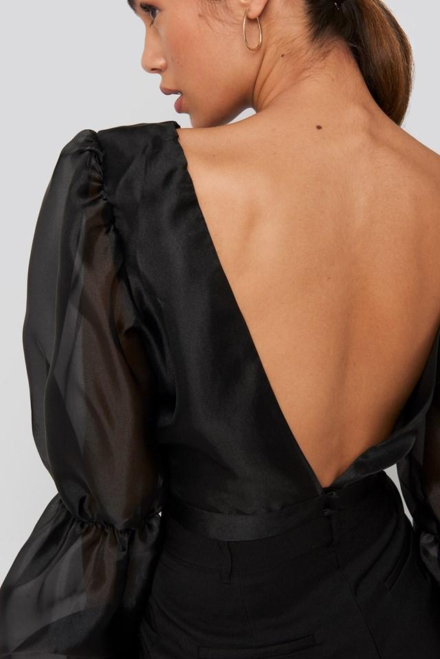 Organza Puff Sleeve Crop Top Black