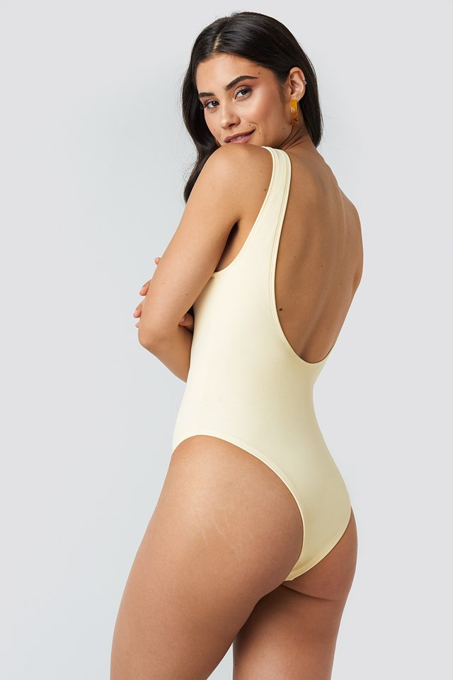 O-ring High Leg Swimsuit Offwhite