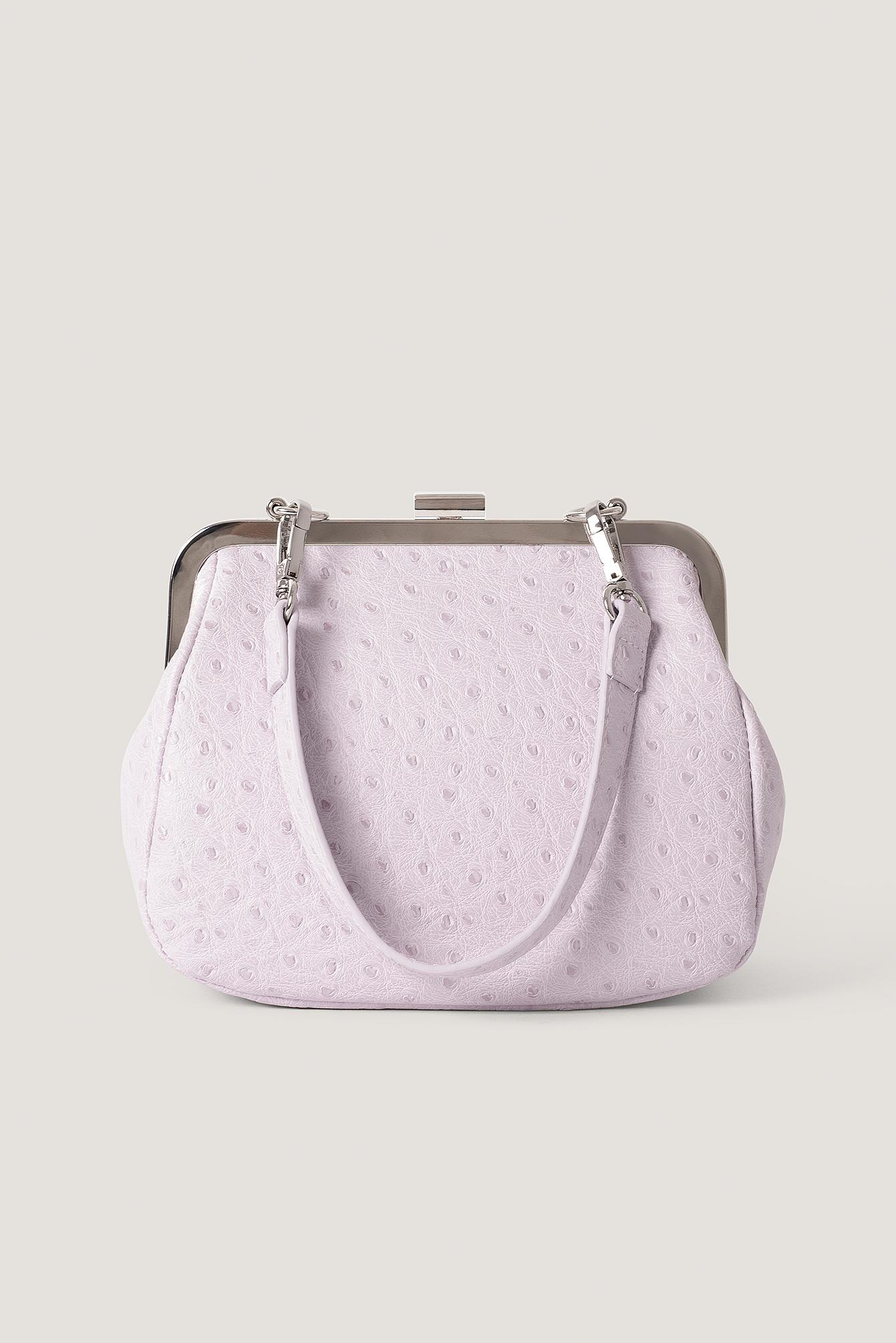 NA-KD Accessories Ostrich Look Clasp Bag - Purple