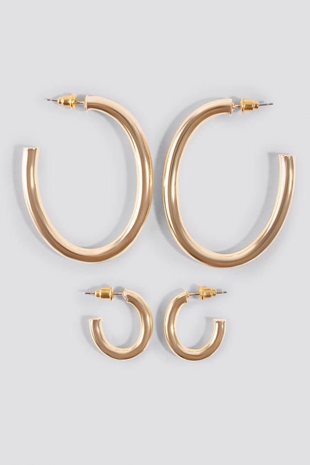 Oval Hoop Earrings (Double Pack) NA-KD Accessories