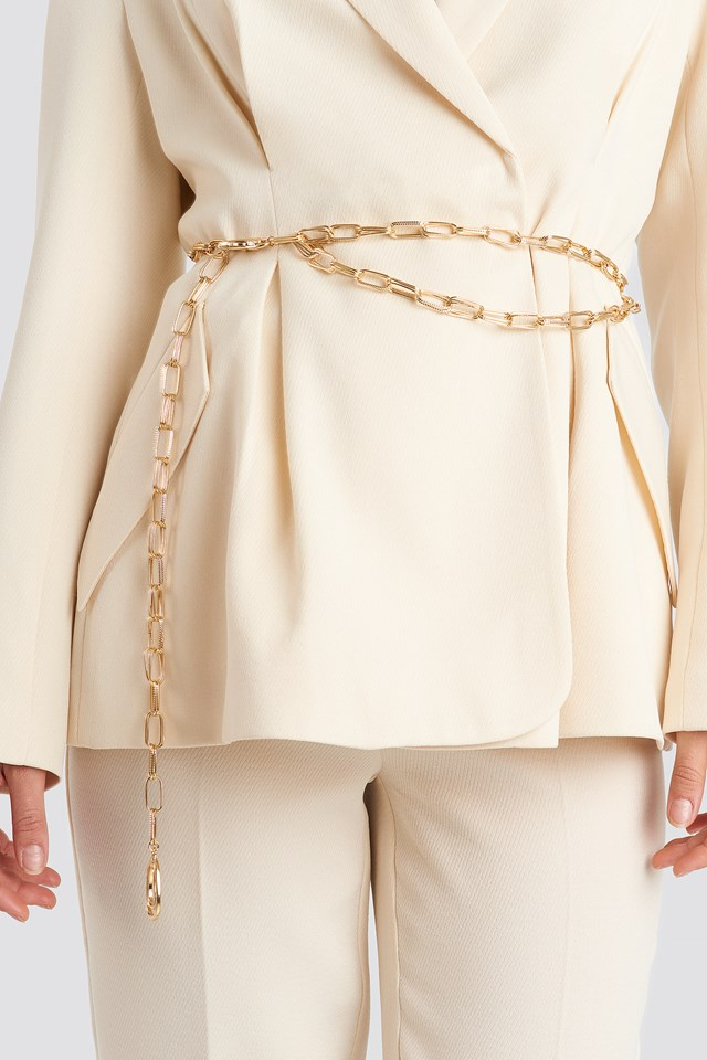 Oval Links Chain Belt Gold