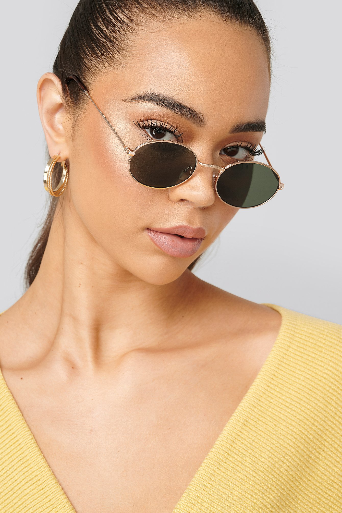 na-kd accessories -  Oval Metal Frame Sunglasses - Gold