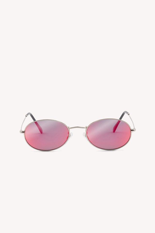 Oval Metal Sunglasses Strong Pink
