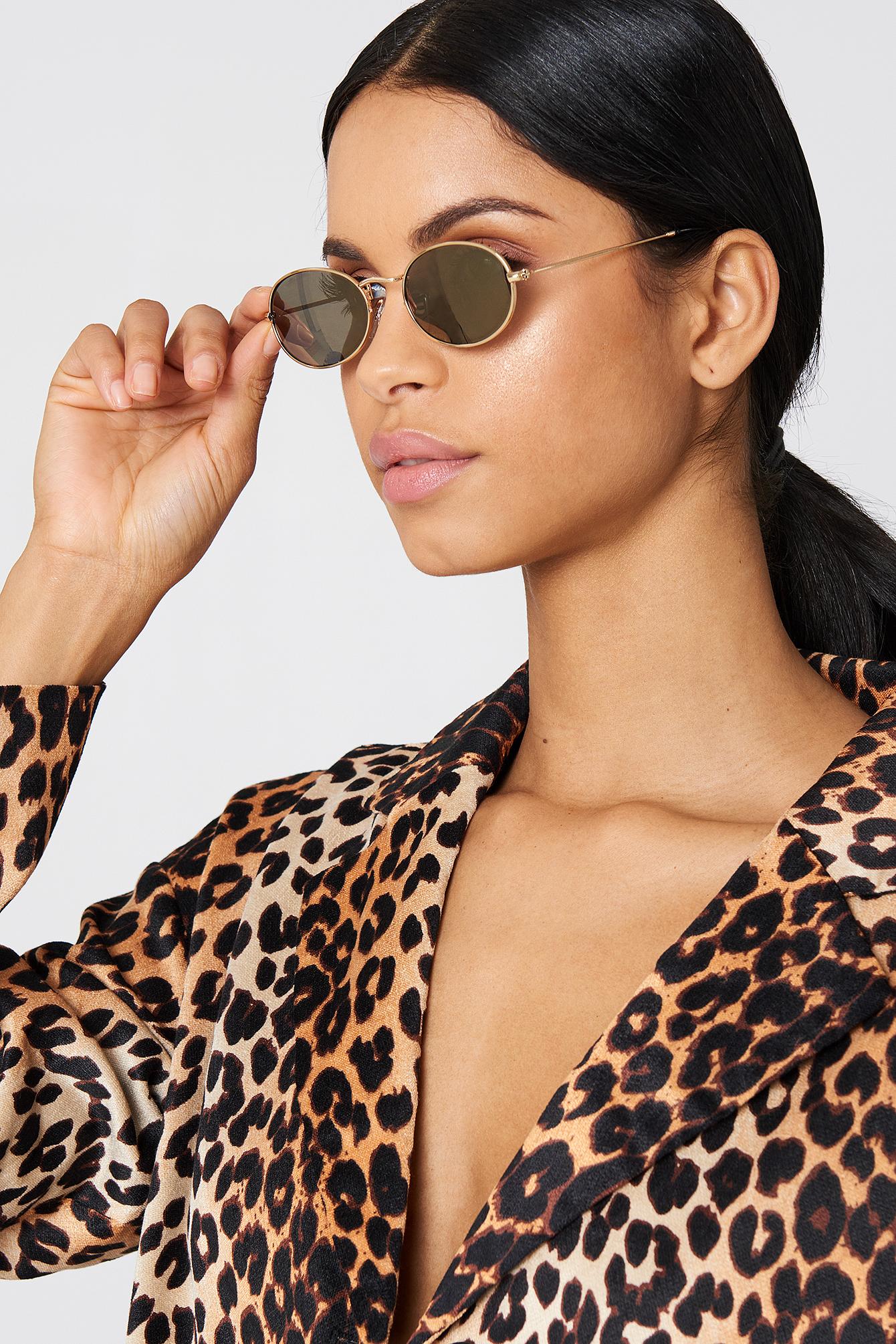 NA-KD Accessories Oval Metal Sunglasses - Gold 59jFcem