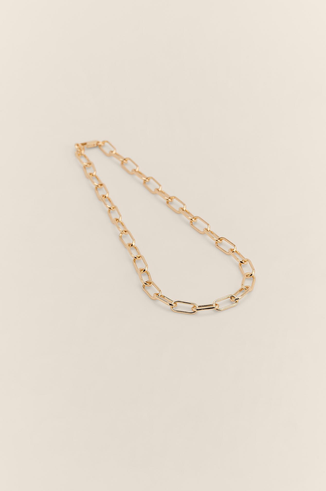 NA-KD Accessories Oval Halskæde I Genanvendt Materiale - Gold