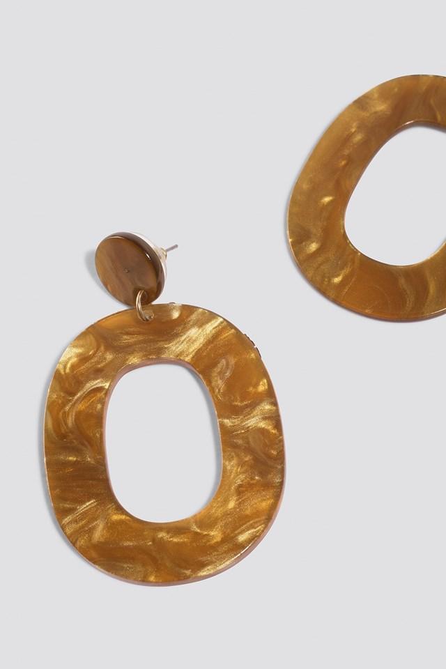 Oval Resin Look Earrings Cognac