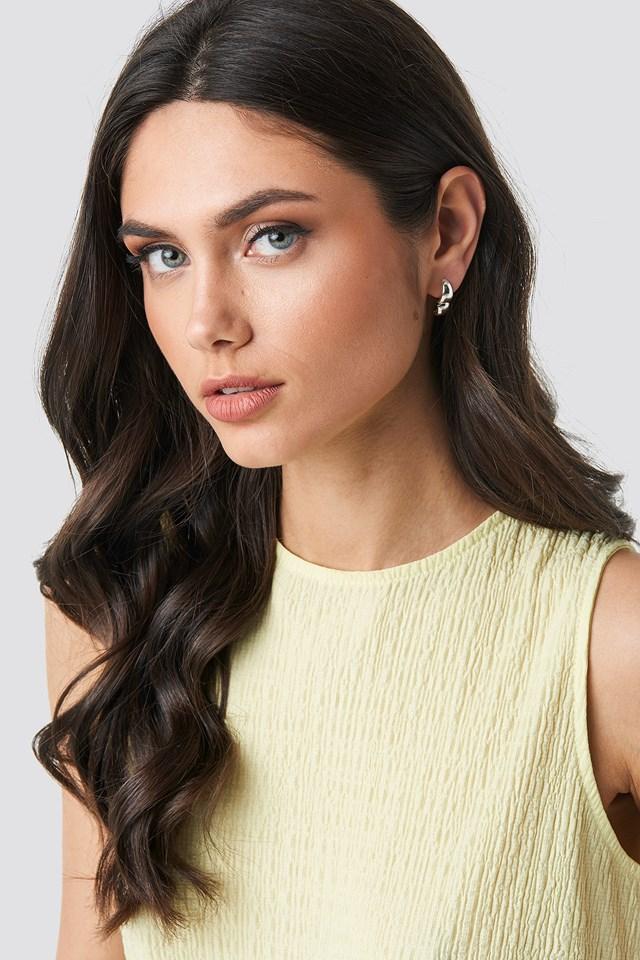 Oval Short Hoop Earrings (Double Pack) Silver