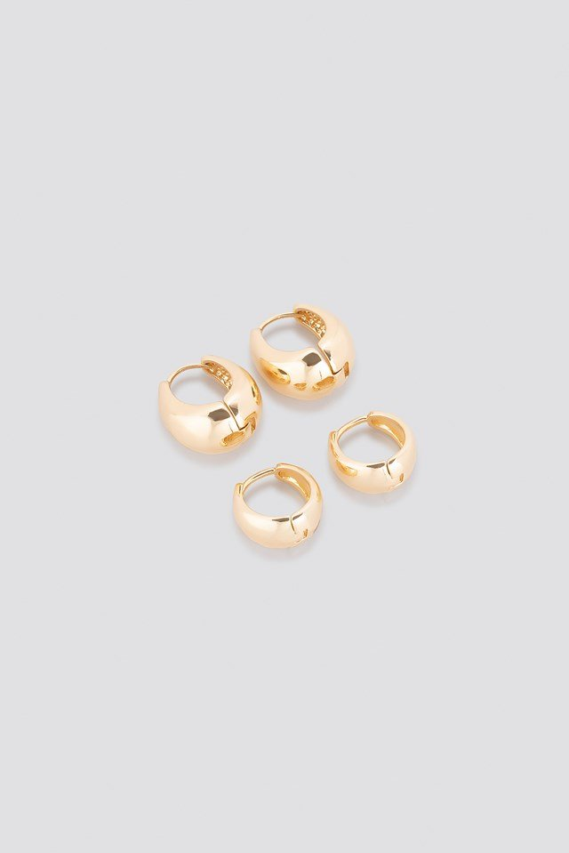 Oval Short Hoop Earrings (Double Pack) NA-KD Accessories