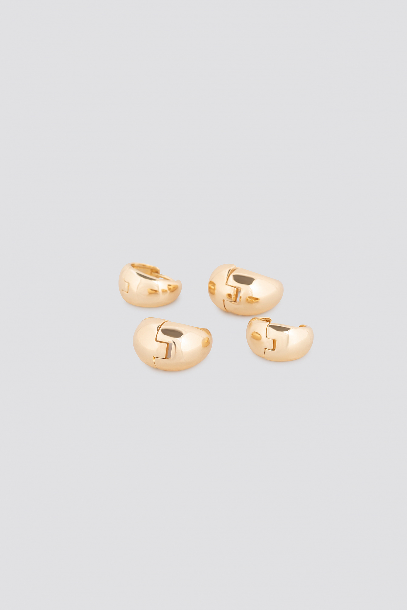 Gold Oval Short Hoop Earrings (Double Pack)