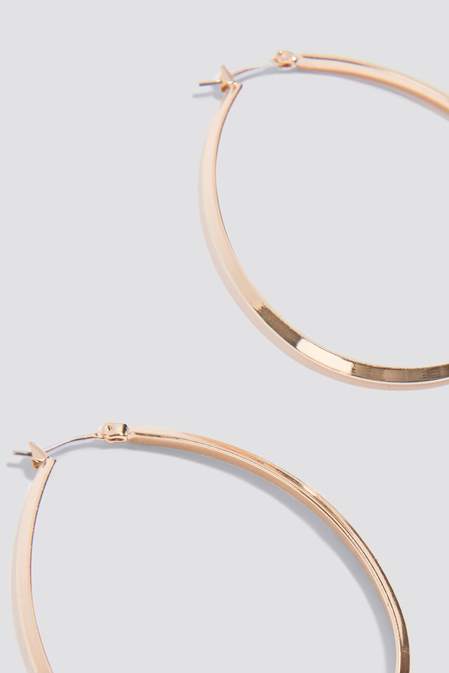 Oval Structured Hoop Earrings Gold