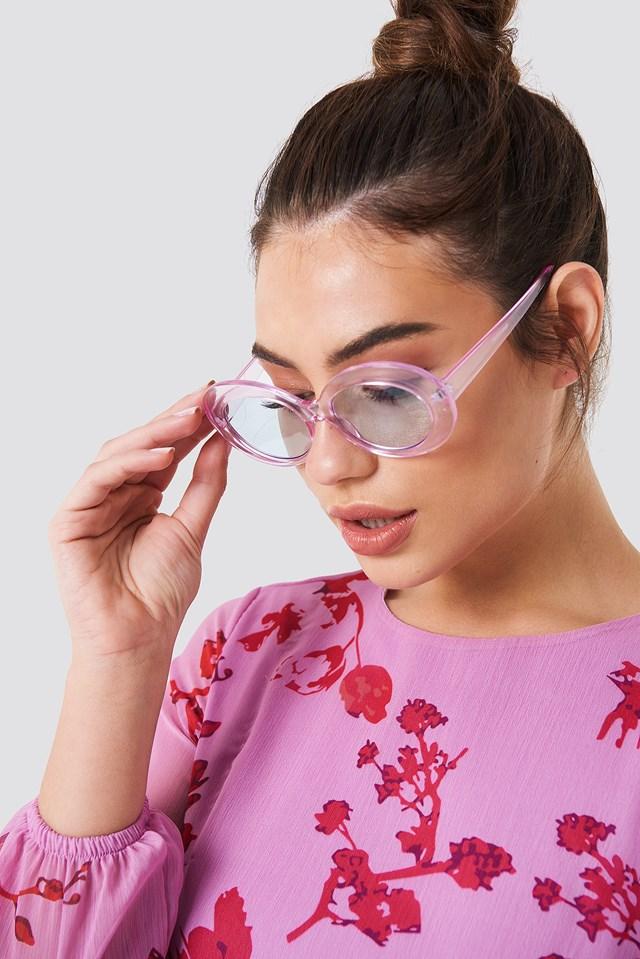 Owalne okulary przeciwsłoneczne Pink