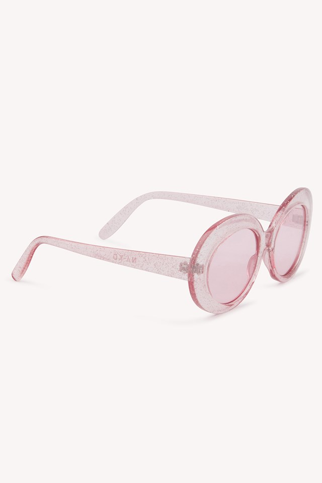 Oval Sunglasses Pink Glitter