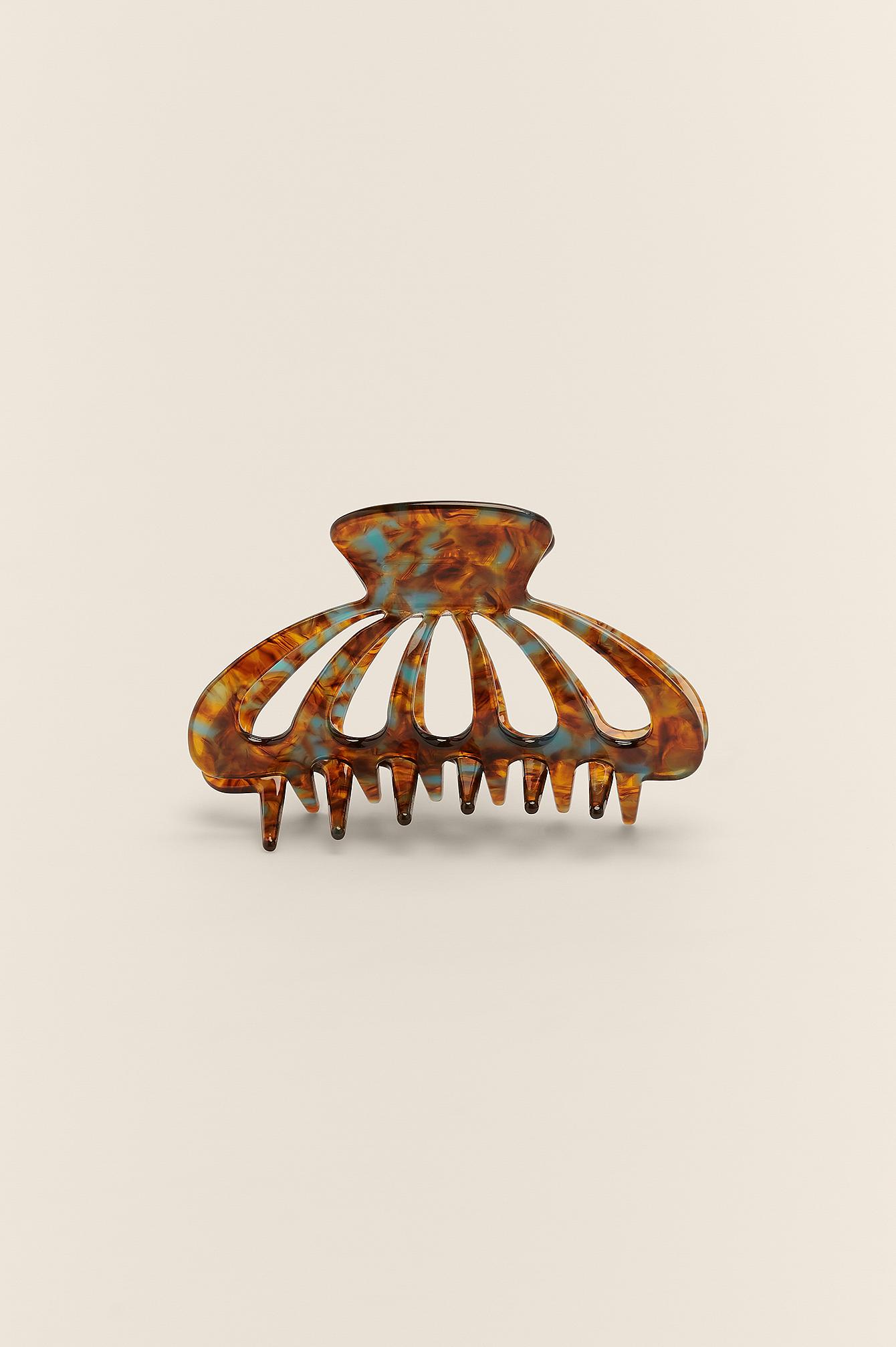na-kd accessories -  Ovale Haarspange Mit Schildkrötenmotiv - Brown