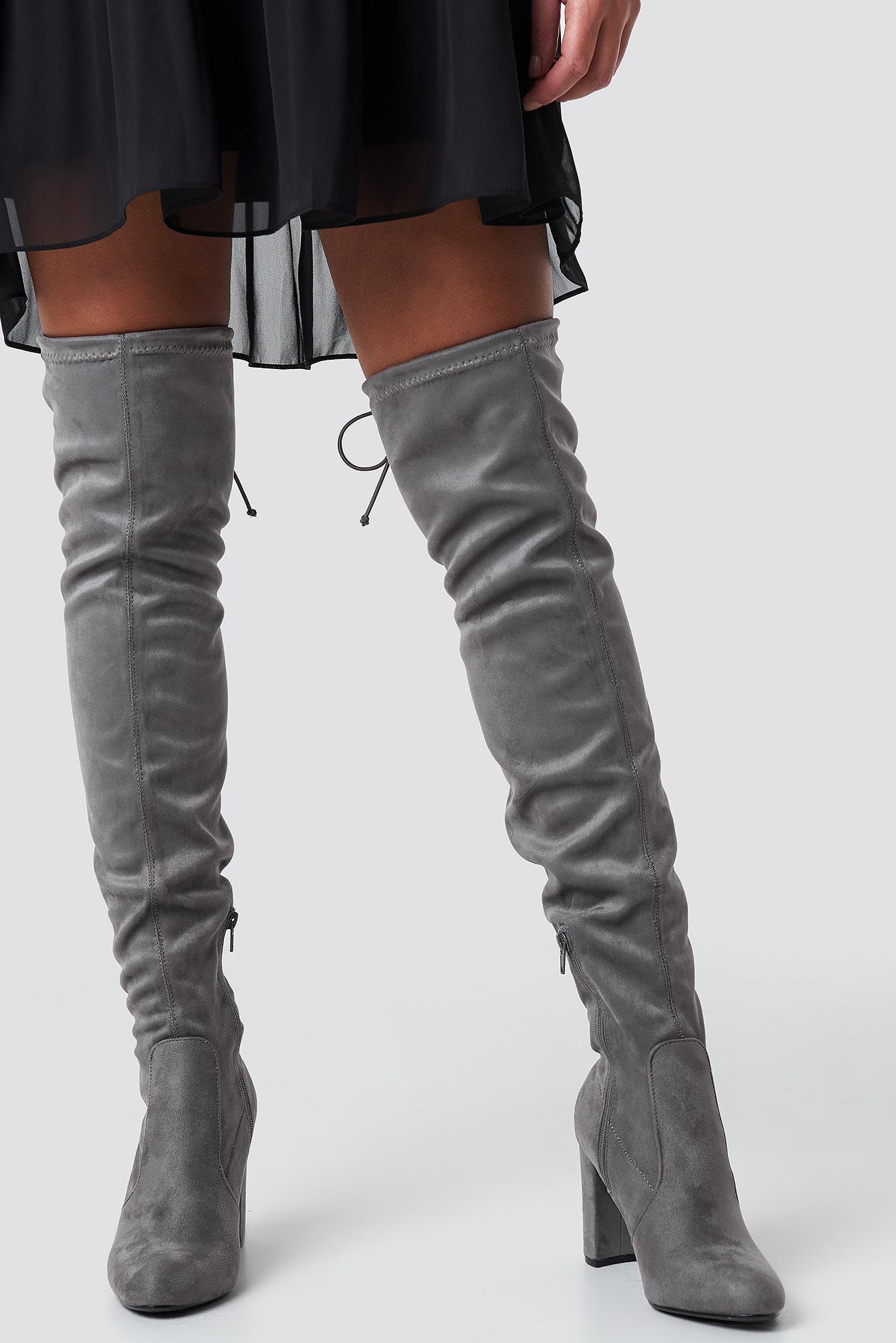 na-kd shoes -  Overknee High Heel Boot - Grey