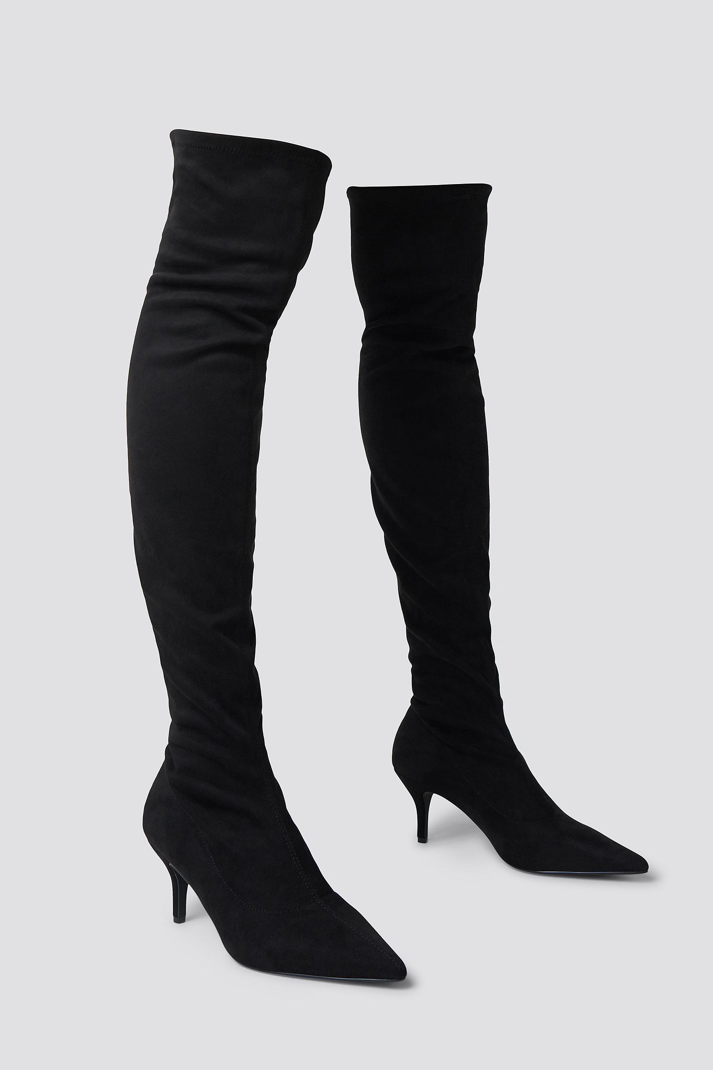Overknee Kitten Heel Boots Black Fashion Shoes Pretty Heels
