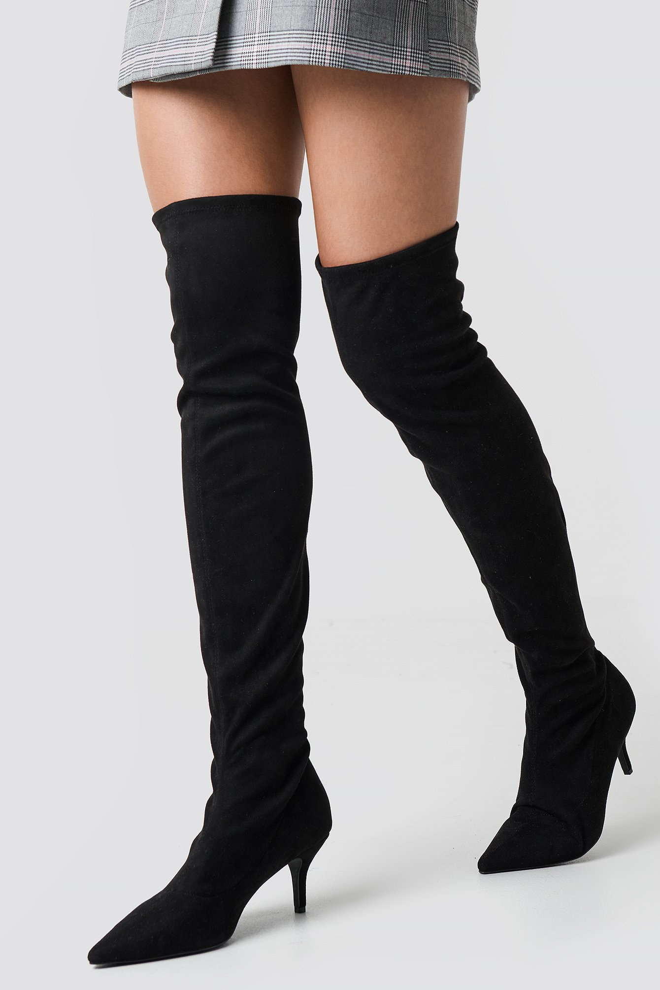 na-kd shoes -  Overknee Kitten Heel Boots - Black
