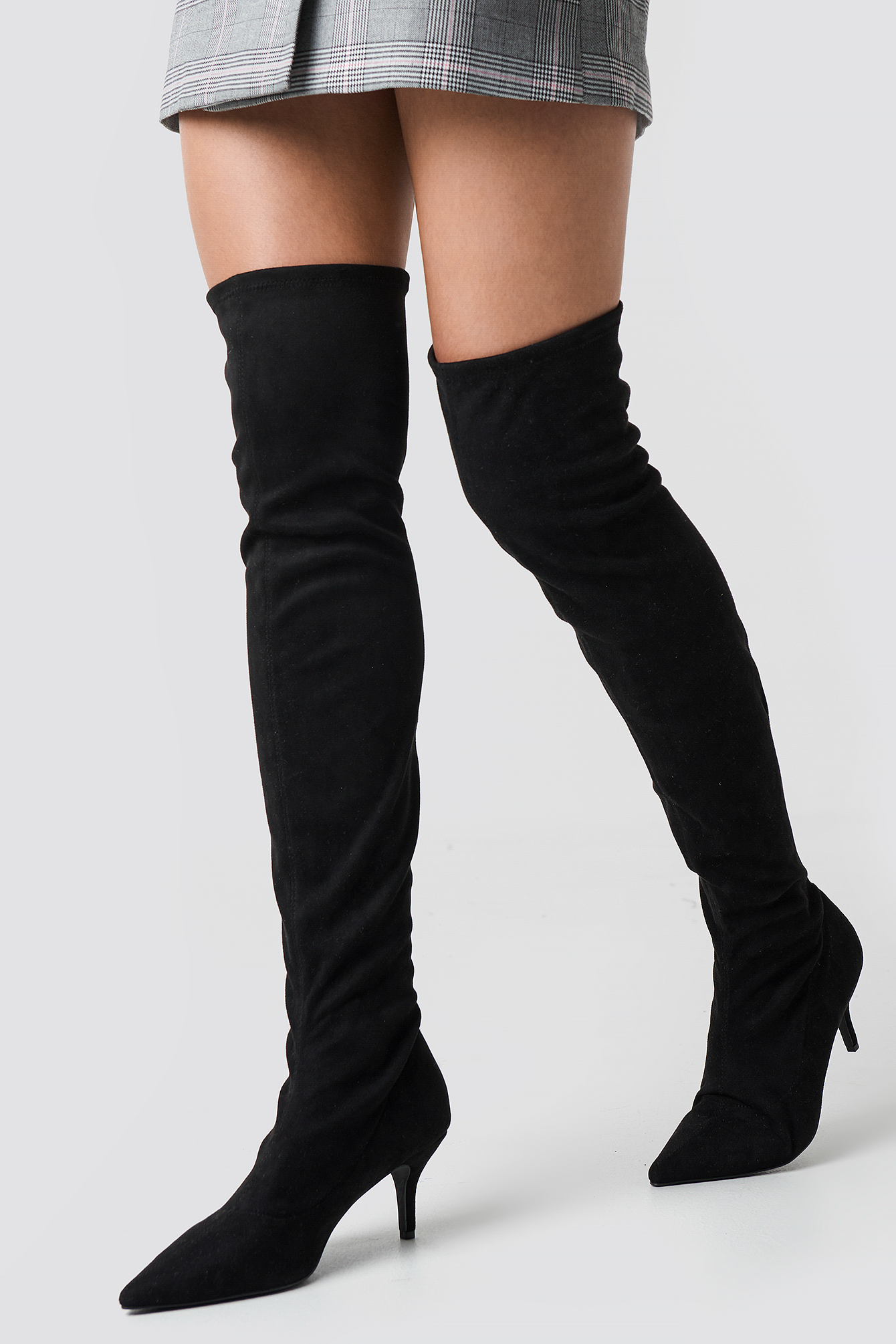 na-kd shoes -  Overknee Kitten Heel Boots - Black