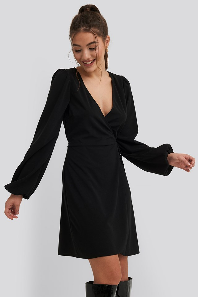 Overlap Balloon Sleeve Dress Black