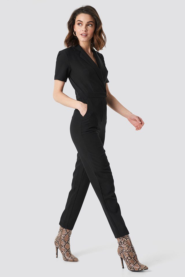 Overlap Collared Jumpsuit Black