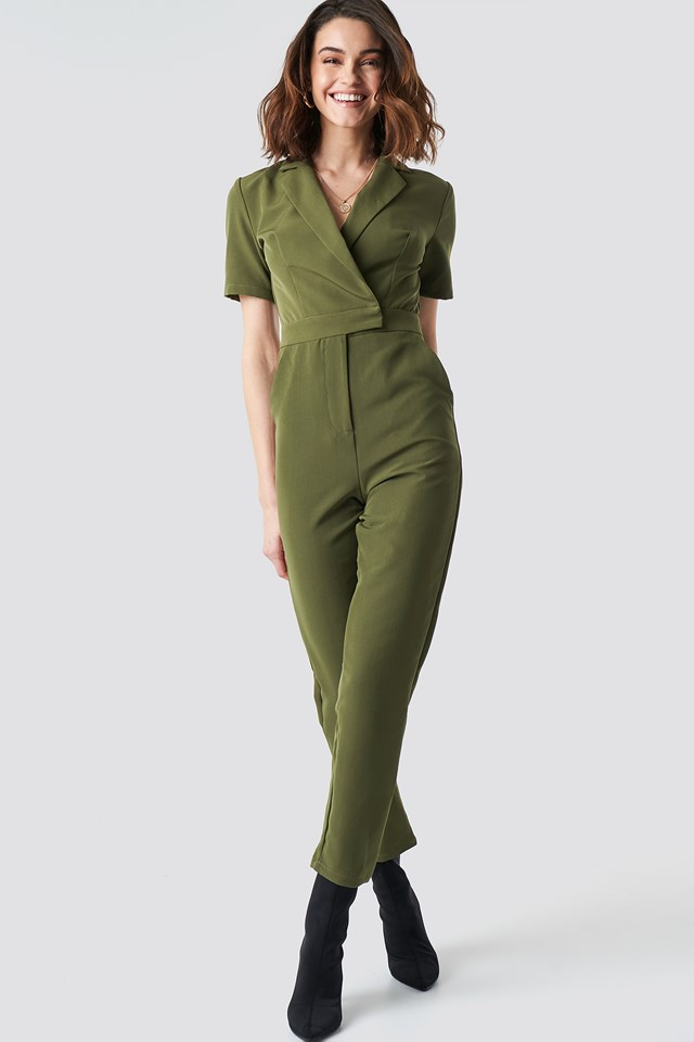Overlap Collared Jumpsuit Green